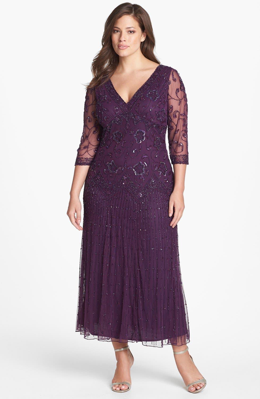 Alternate Image 1 Selected - Pisarro Nights Beaded Mesh Gown (Plus Size)