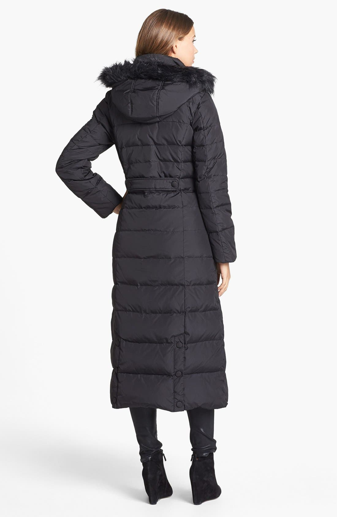 Alternate Image 2  - DKNY Faux Fur Trim Fitted Down & Feather Coat
