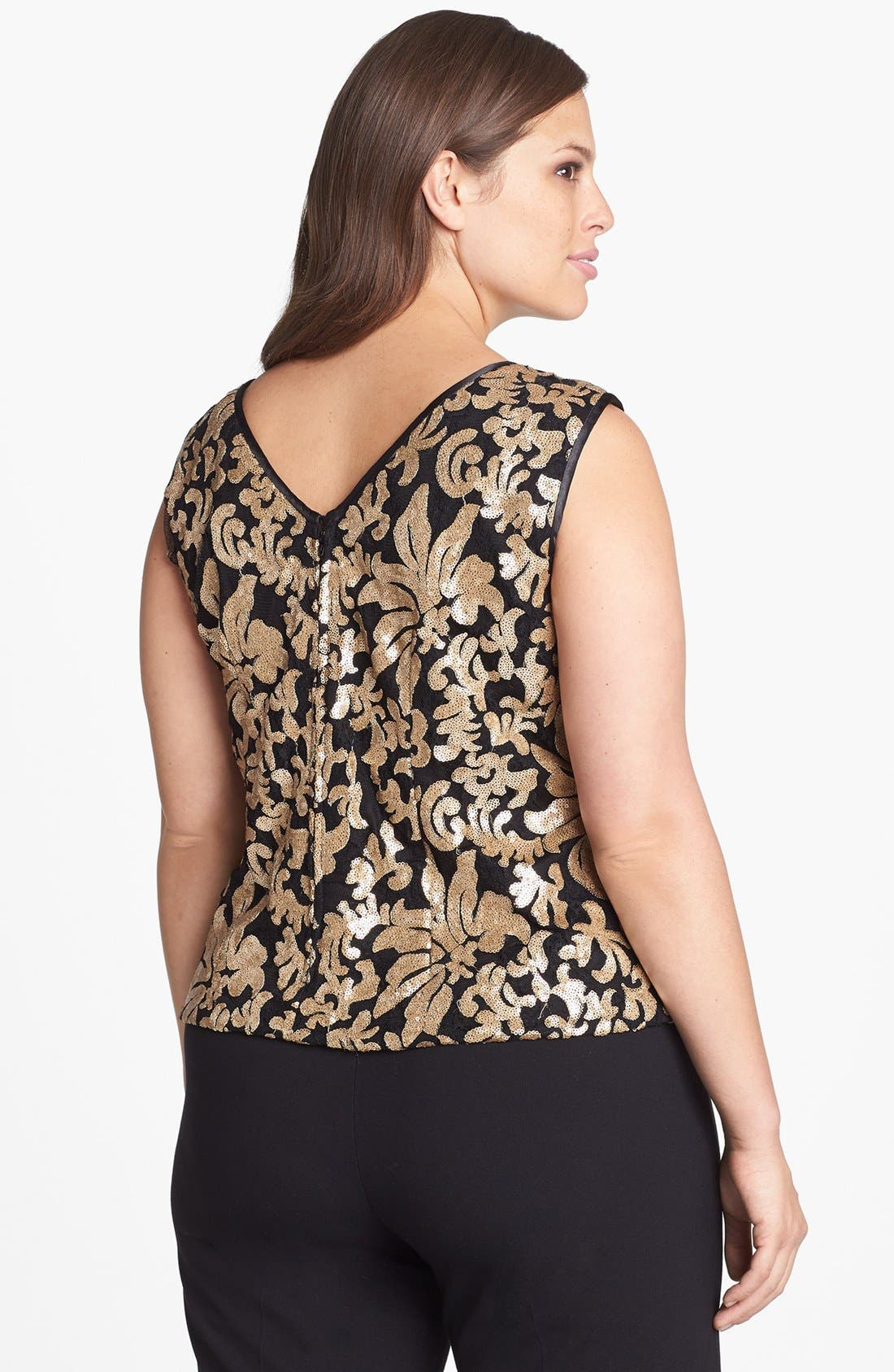 Alternate Image 2  - Alex Evenings Sequin Lace Sleeveless Blouse (Plus Size)