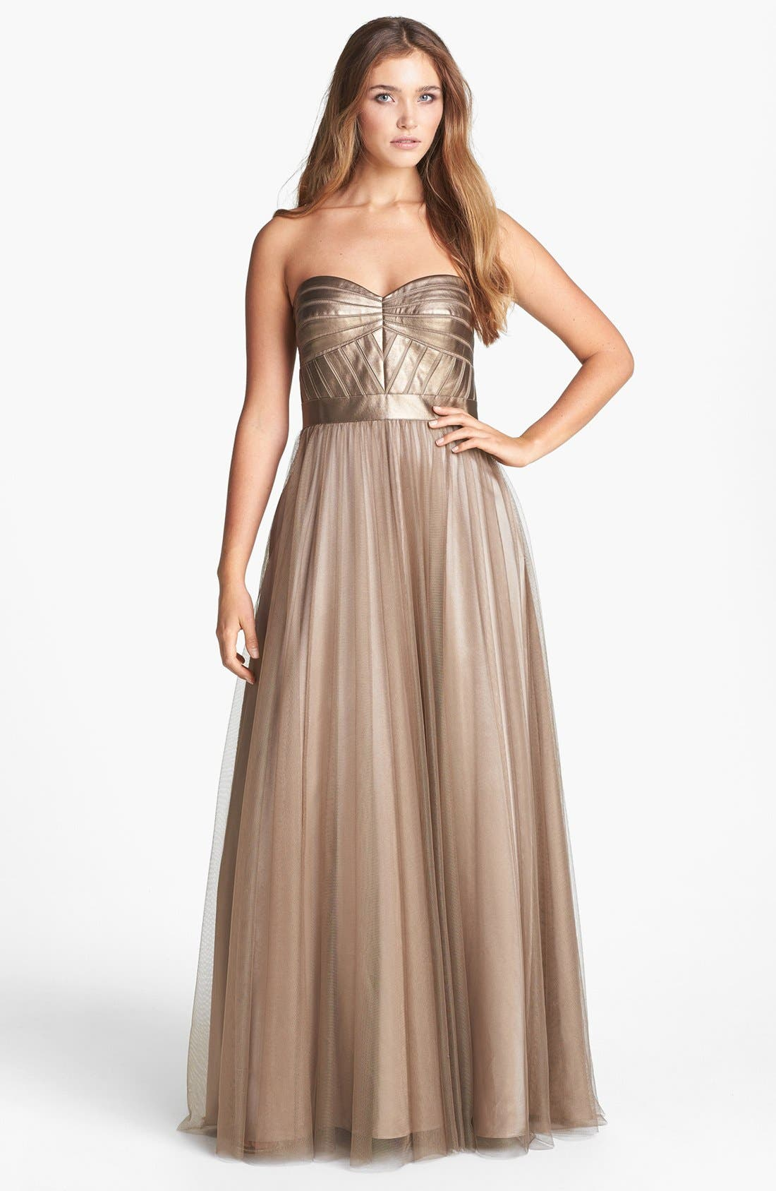 Alternate Image 1 Selected - Aidan Mattox Faux Leather & Tulle Ballgown