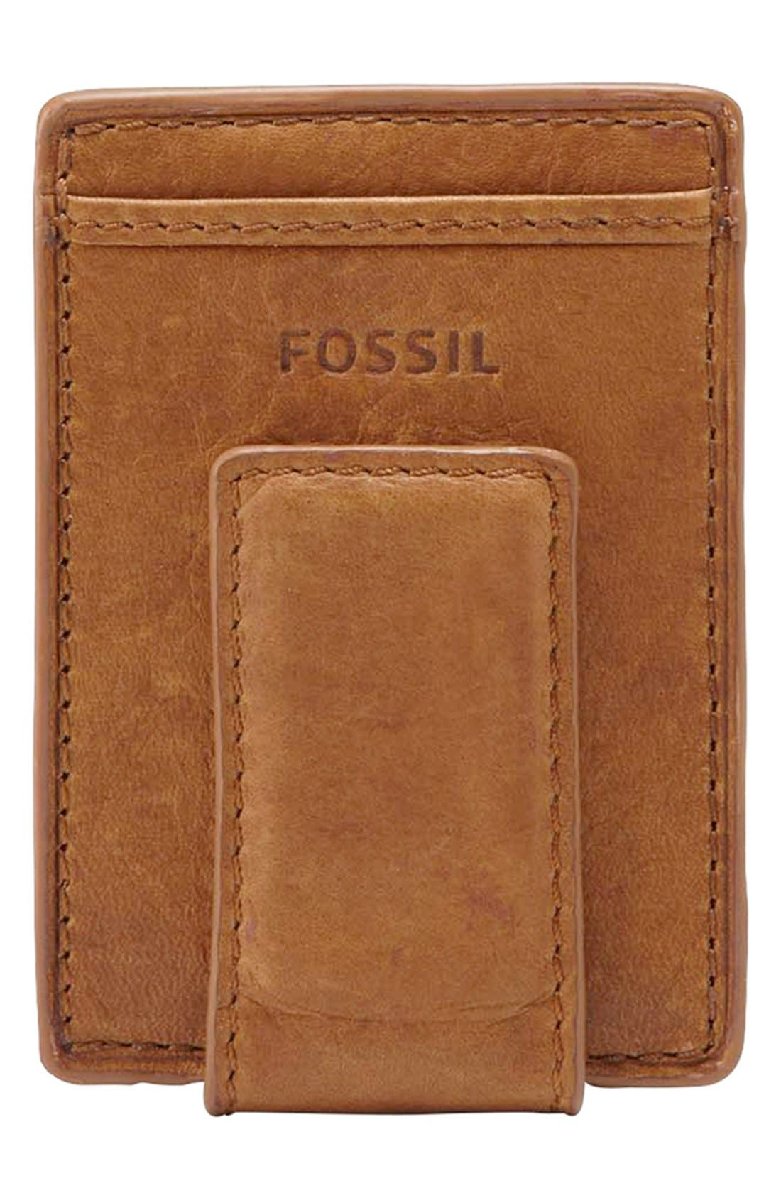 Main Image - Fossil 'Ingram' Leather Magnetic Money Clip Card Case