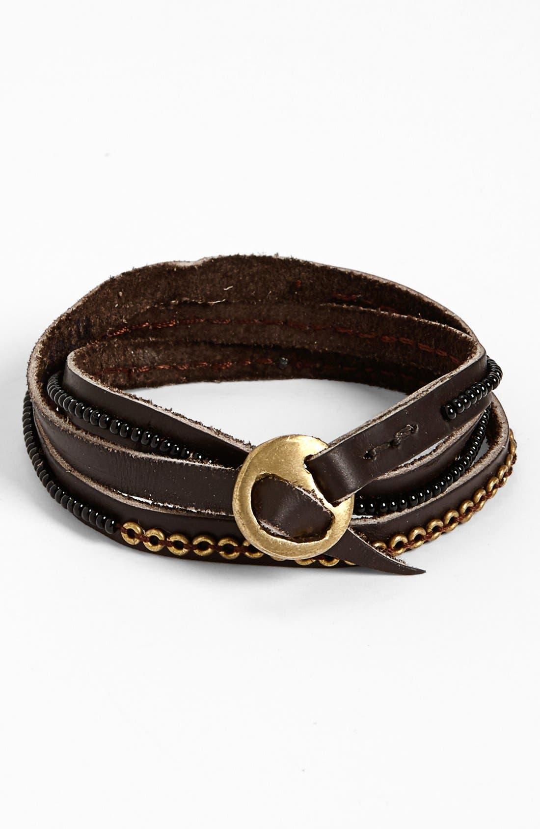 Alternate Image 1 Selected - Me to We Artisans 'Tatu' Beaded Leather Wrap Bracelet (Juniors)