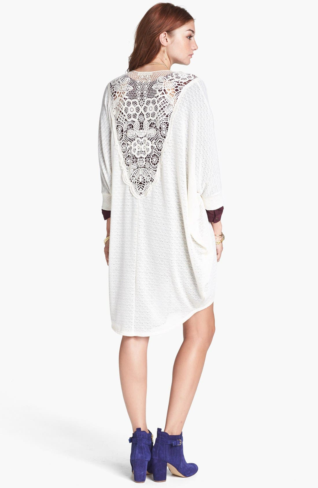 Main Image - Painted Threads 'Mary Kate' Crochet Back High/Low Cardigan (Juniors)