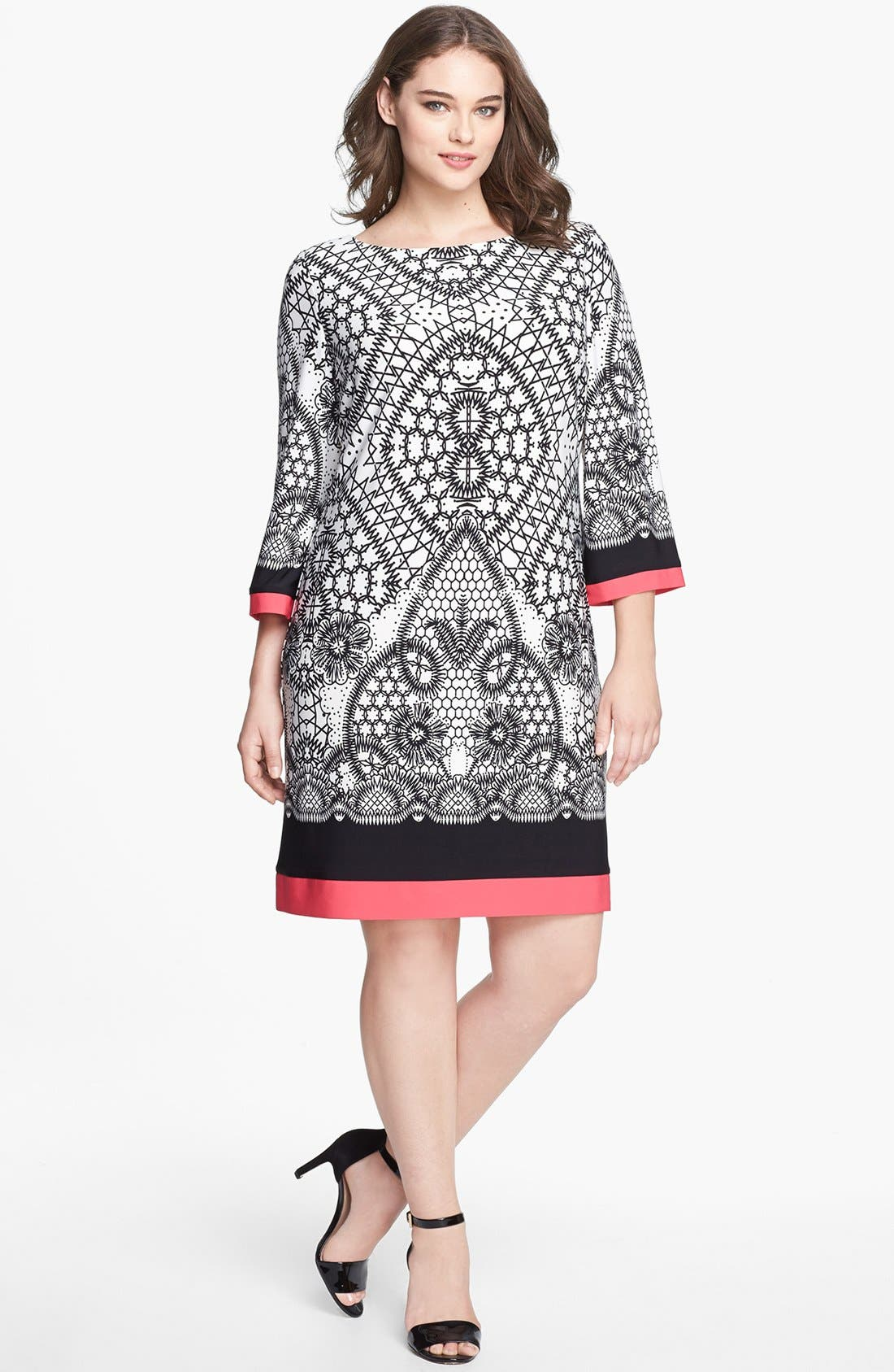 Alternate Image 1 Selected - Eliza J Print Jersey Shift Dress (Plus Size)