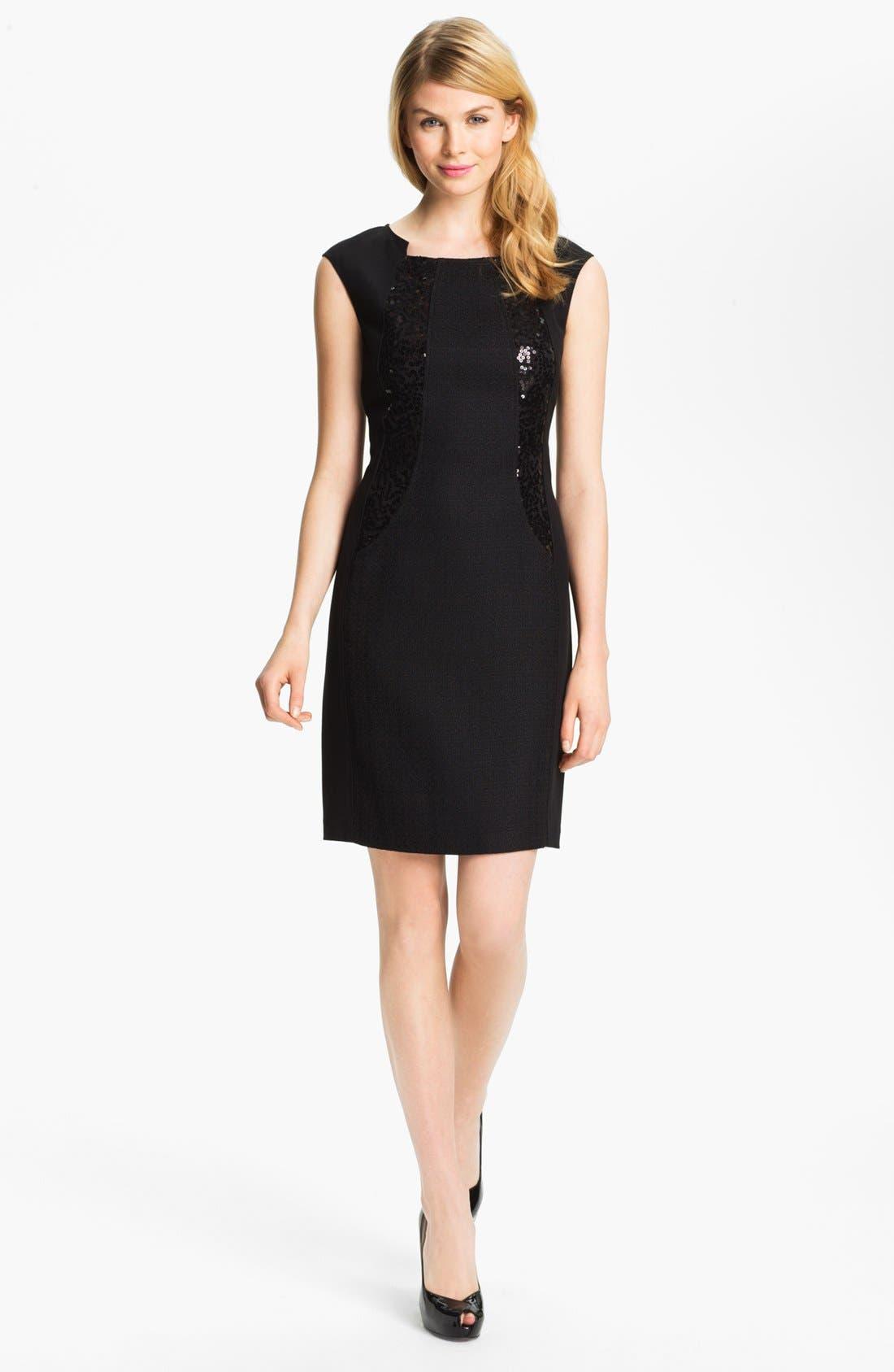 Main Image - Ellen Tracy Sequin Trim Sheath Dress