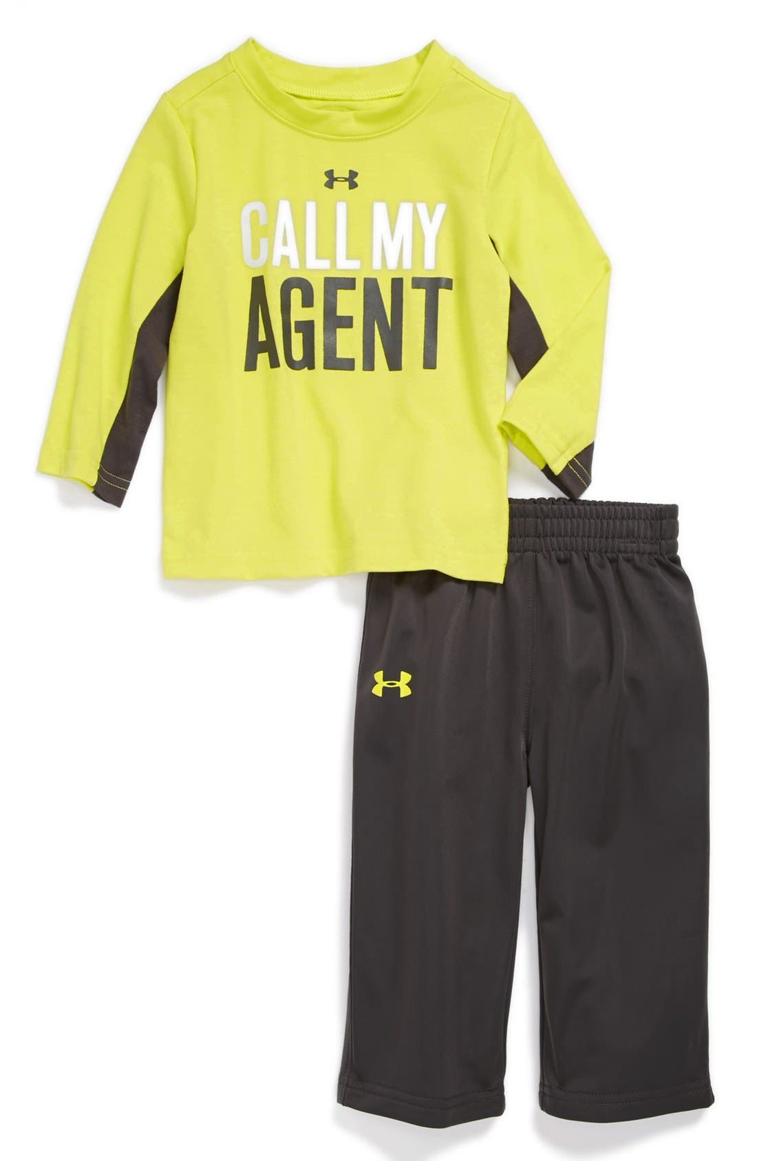 Alternate Image 1 Selected - Under Armour 'Call My Agent' T-Shirt & Pants (Baby Boys)