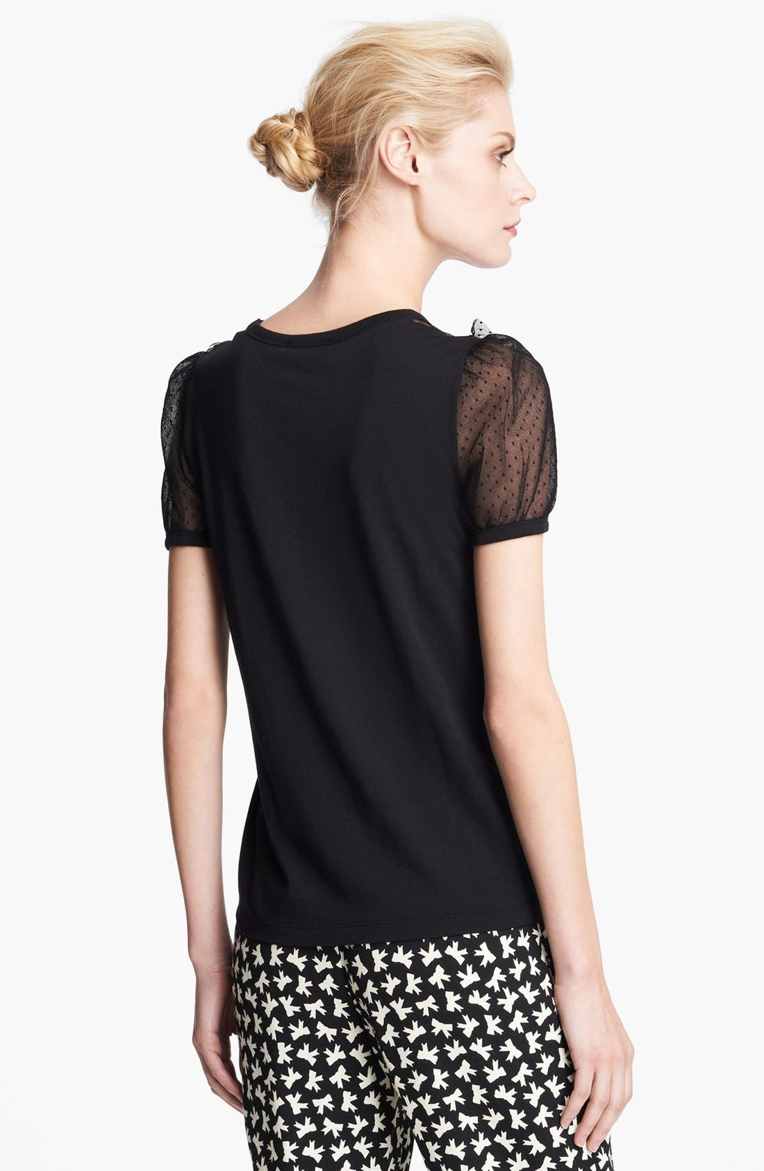 Alternate Image 2  - RED Valentino Lace Inset Jersey Tee
