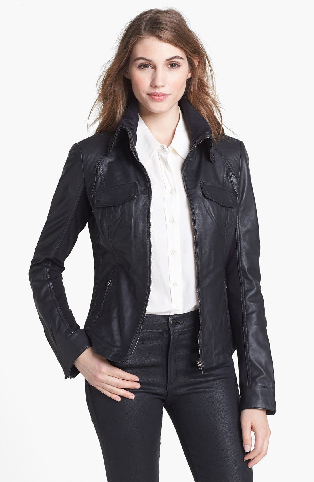 Alternate Image 1 Selected - LaMarque Knit Collar Leather Jacket