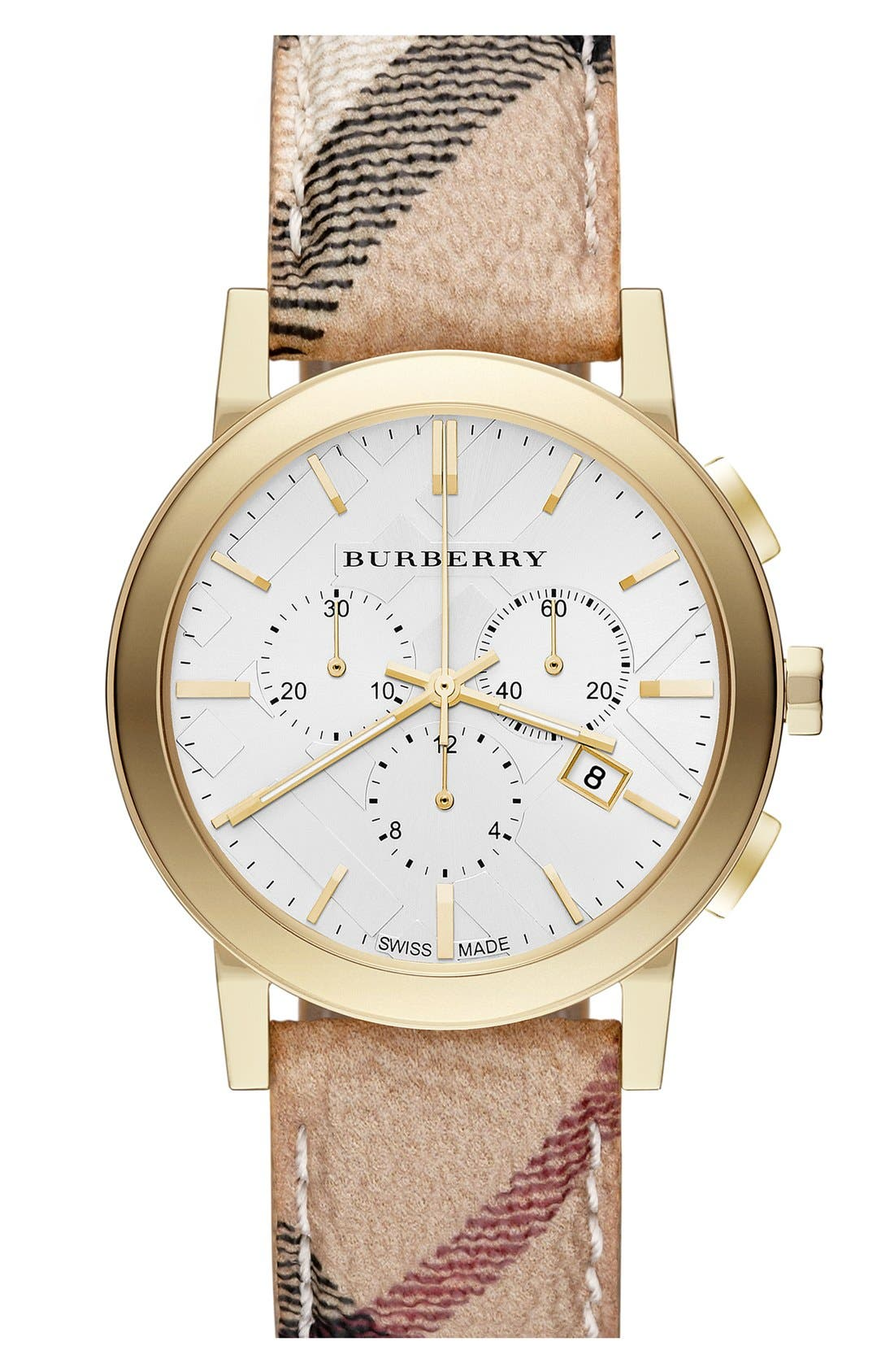 Main Image - Burberry Round Chronograph Leather Strap Watch, 38mm