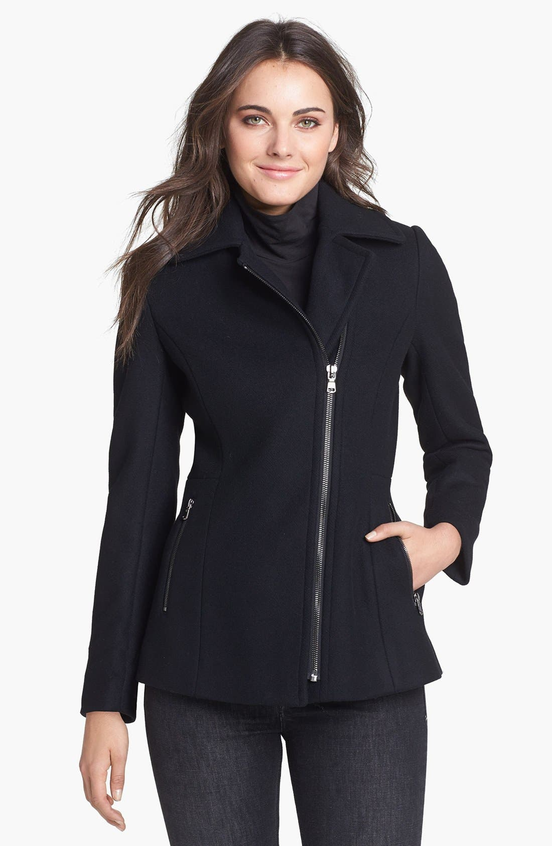 Main Image - Kristen Blake Asymmetrical Wool Blend Coat (Nordstrom Exclusive)