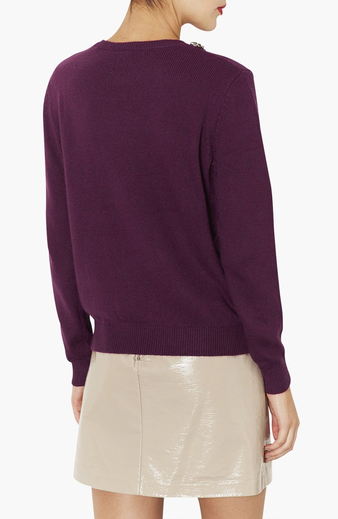 Alternate Image 2  - Topshop Embellished Neck Sweater