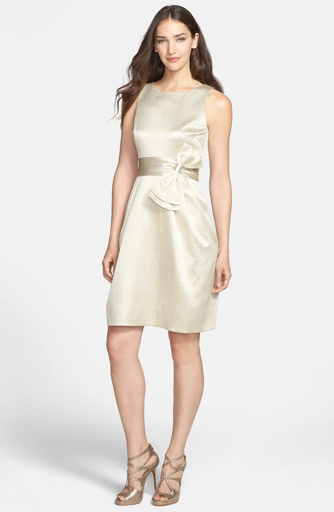 Alternate Image 1 Selected - Eliza J Side Bow Jacquard Sheath Dress