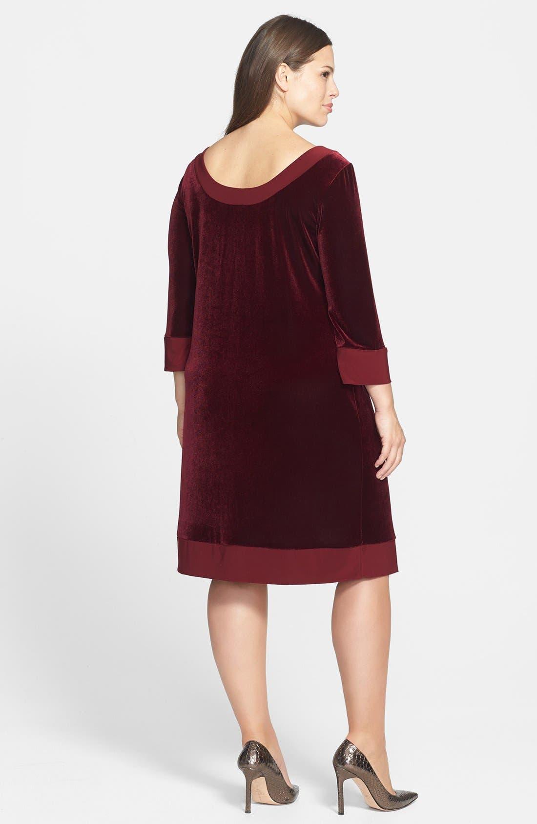 Alternate Image 2  - ABS by Allen Schwartz Velvet Shift Dress (Plus Size)
