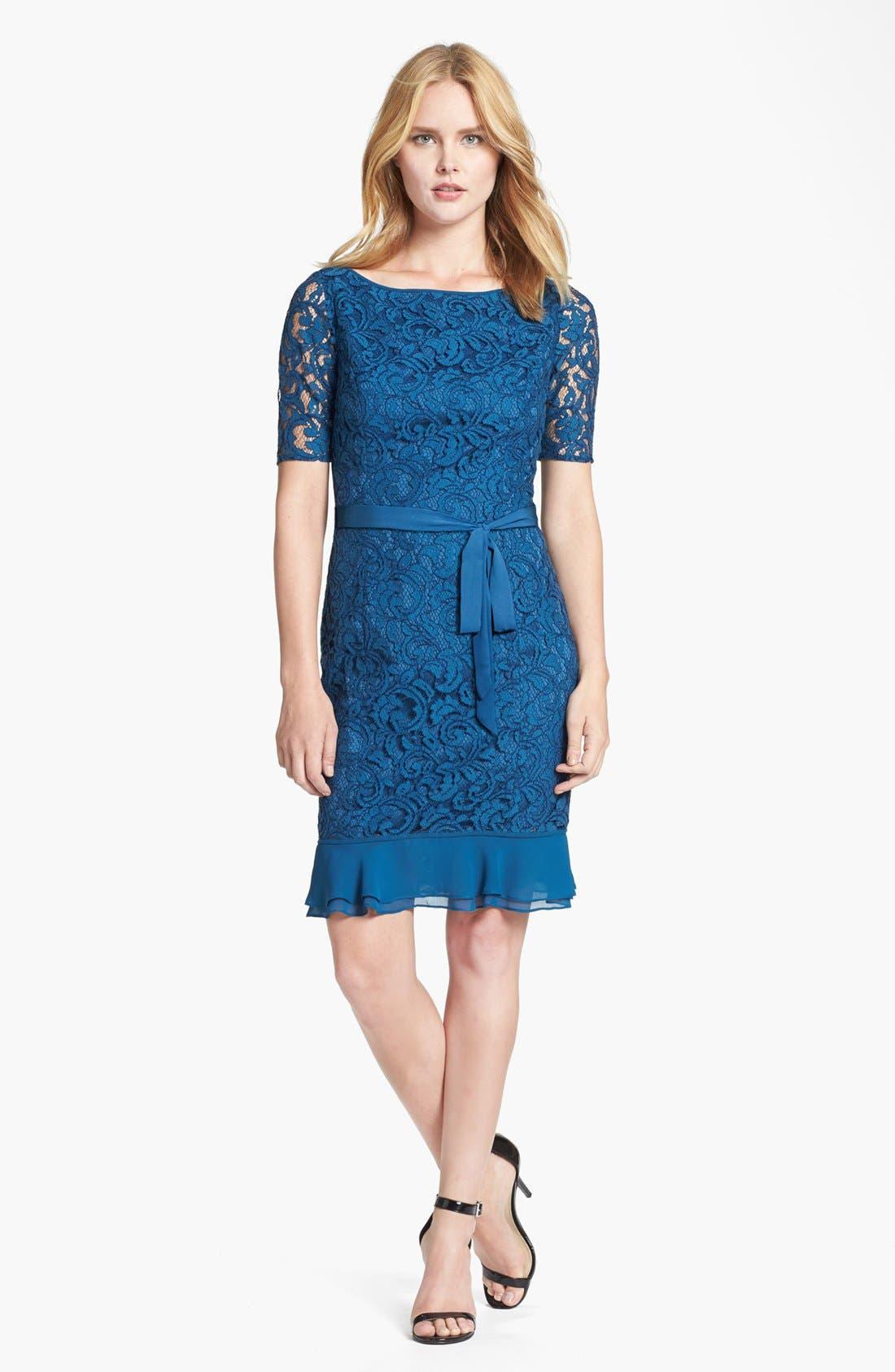 Main Image - Adrianna Papell Ruffle Hem Lace Sheath Dress