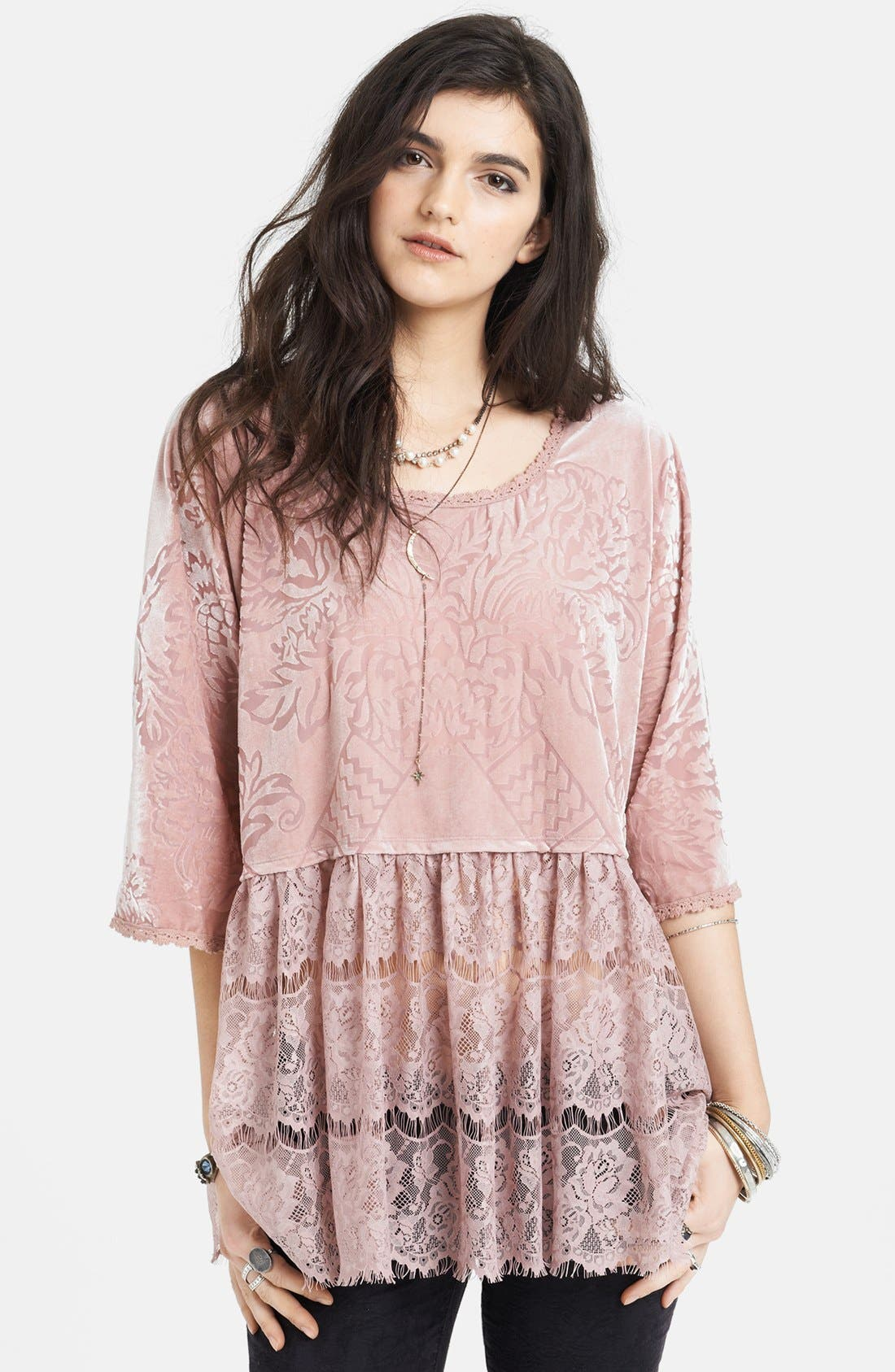 Main Image - Free People 'Fortune Teller' Velvet & Lace Top