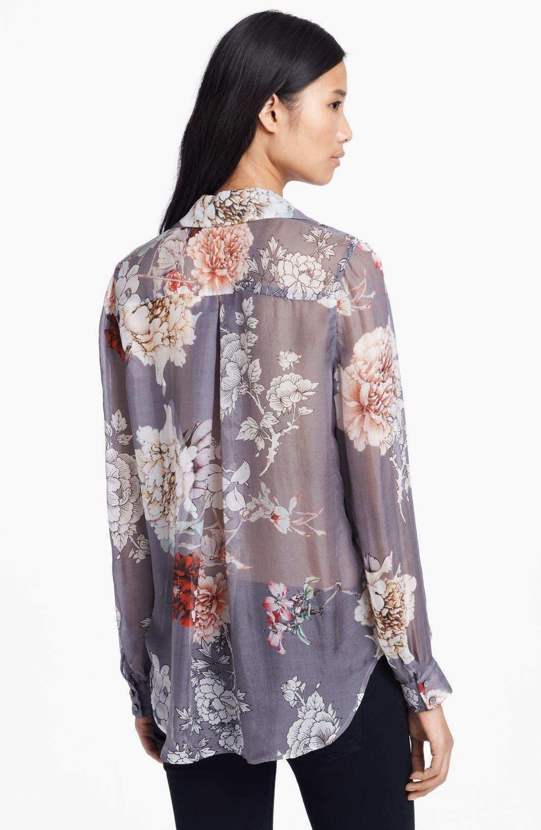 Alternate Image 2  - L'AGENCE Floral Print Silk Blouse