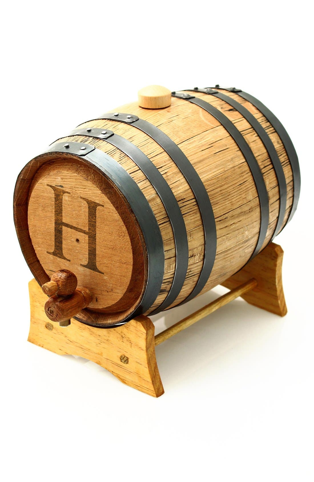 Cathy's Concepts Monogram Oak Whiskey Barrel, Large