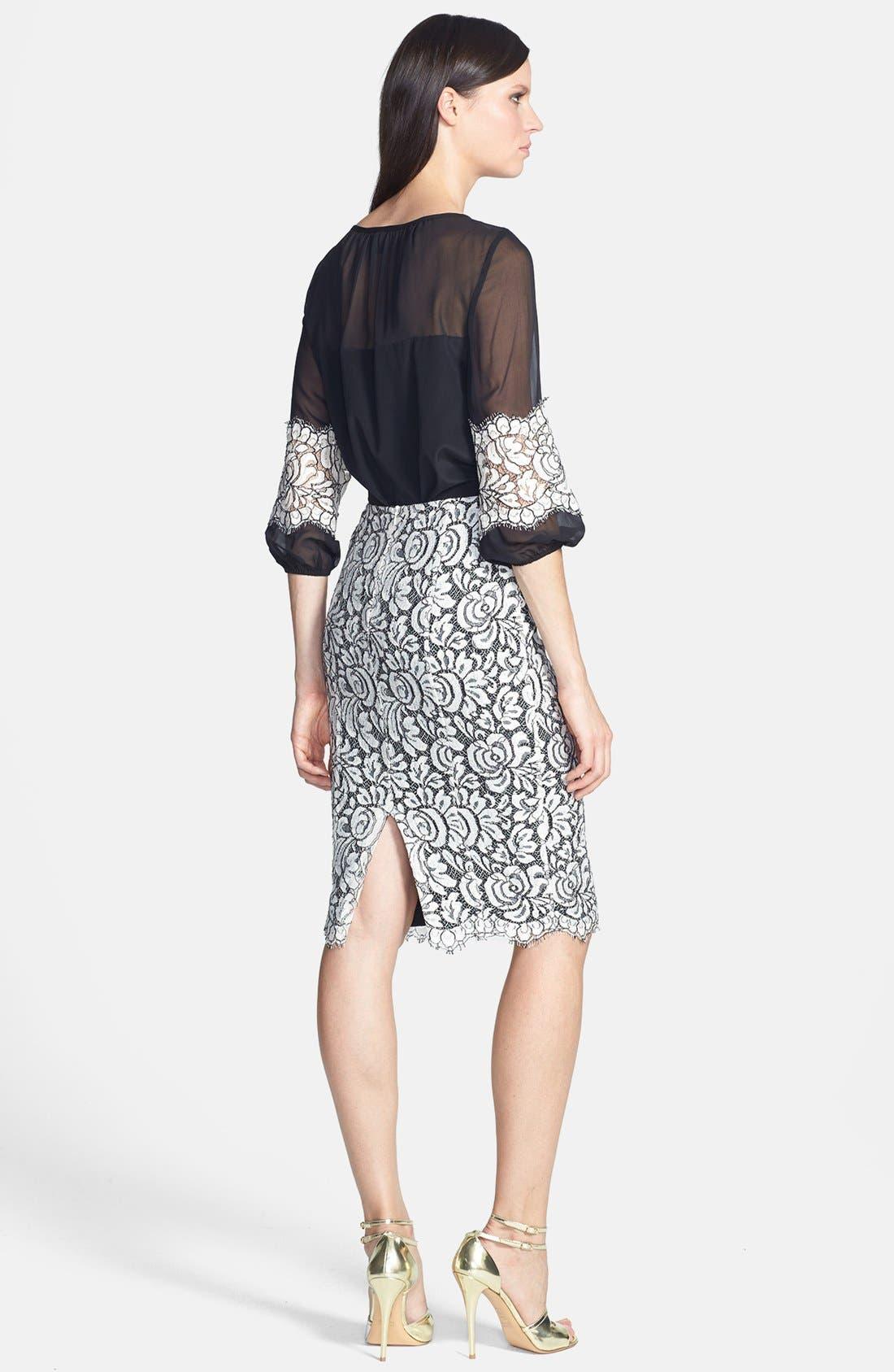 Alternate Image 3  - St. John Collection Scallop Hem Graphic Lace Pencil Skirt