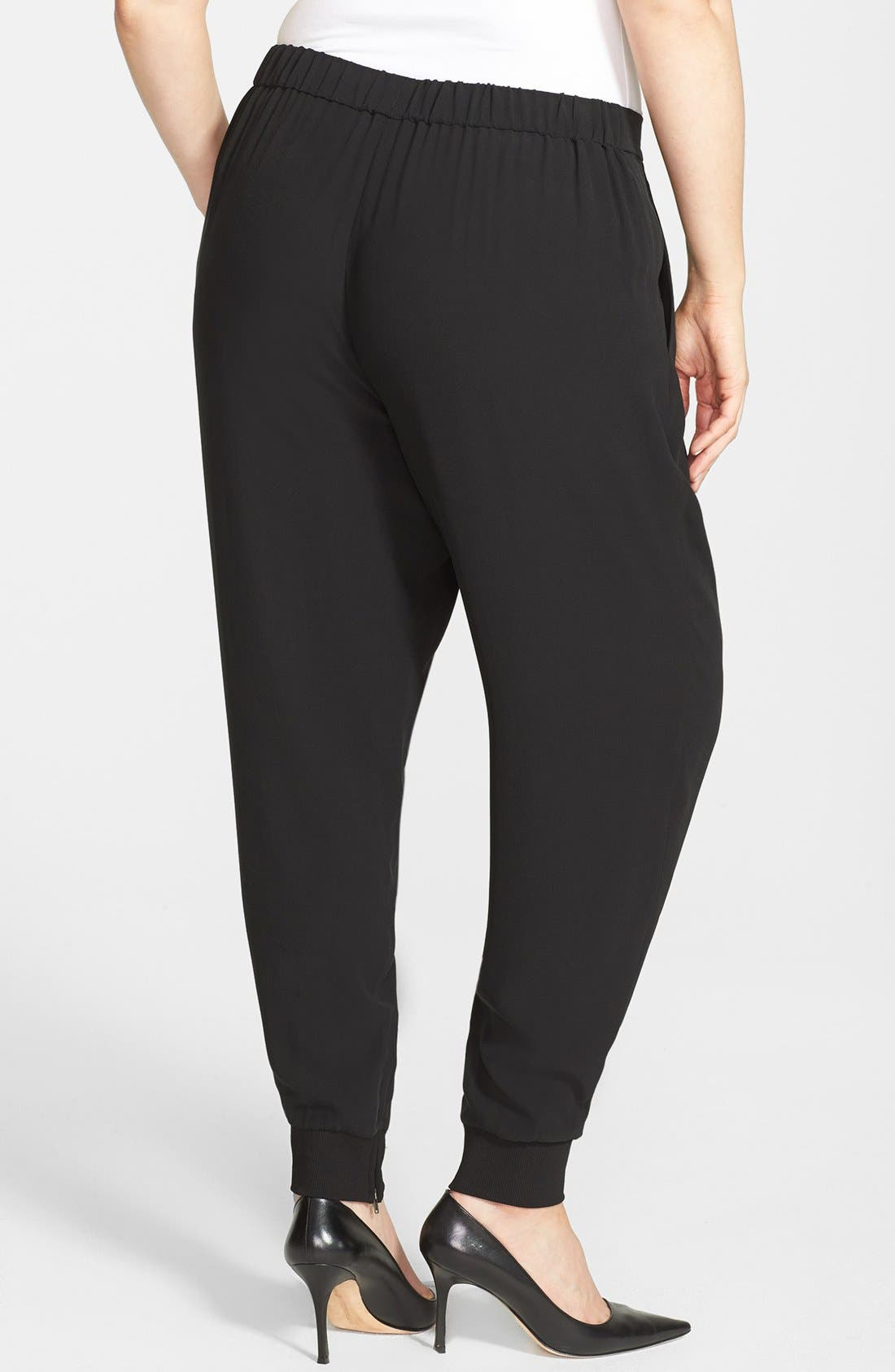 Alternate Image 2  - Eileen Fisher Cuffed Silk Ankle Pants (Plus Size)