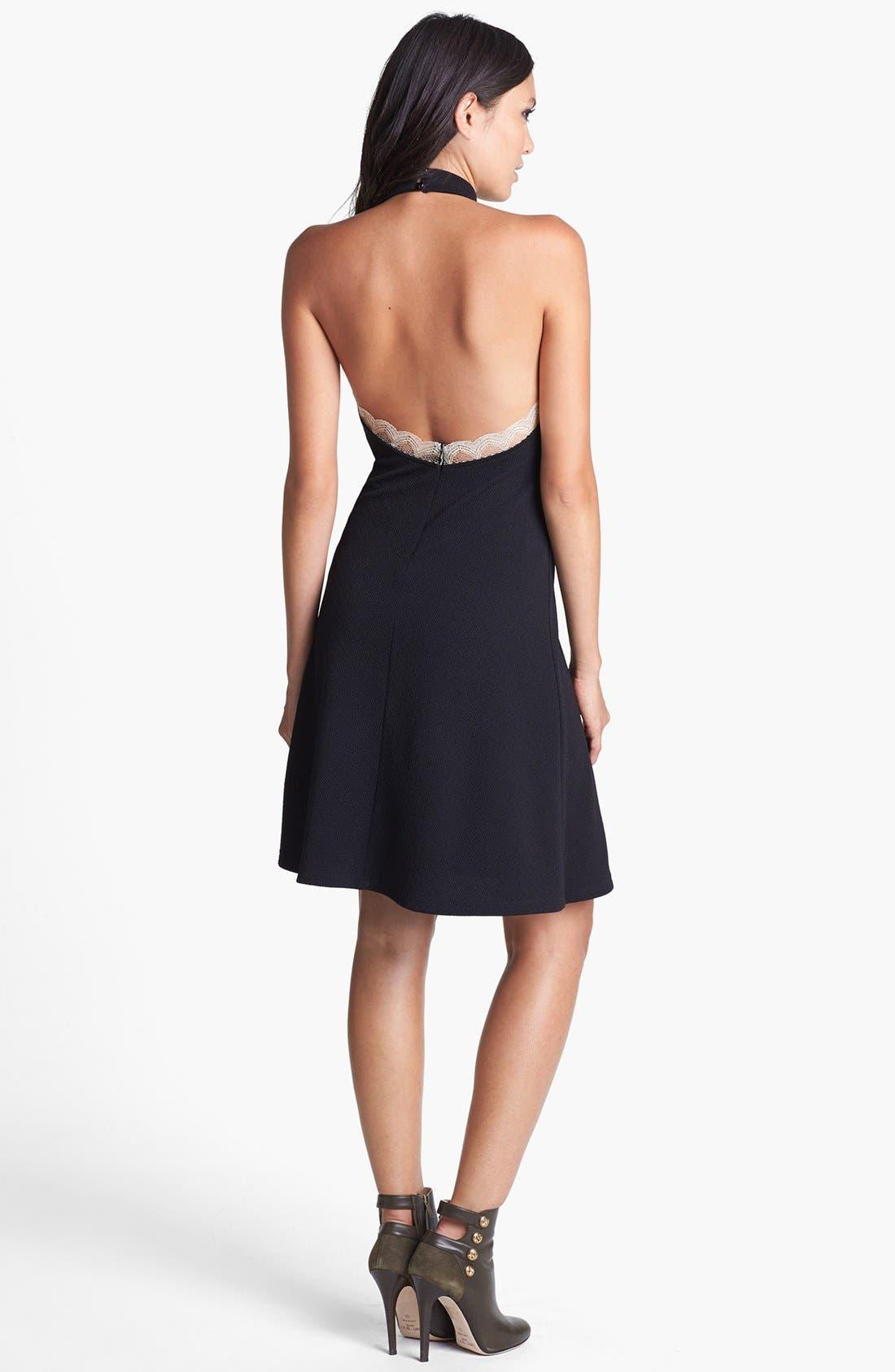Alternate Image 2  - June & Hudson Lace Trim Halter Dress