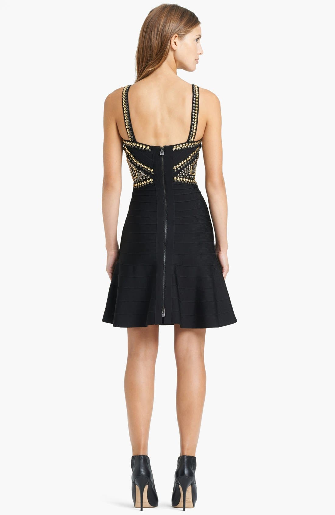 Alternate Image 2  - Herve Leger Embroidered Waist Dress