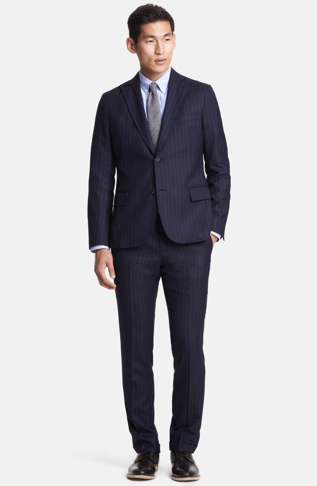 Main Image - Todd Snyder Navy Pinstripe Wool Suit