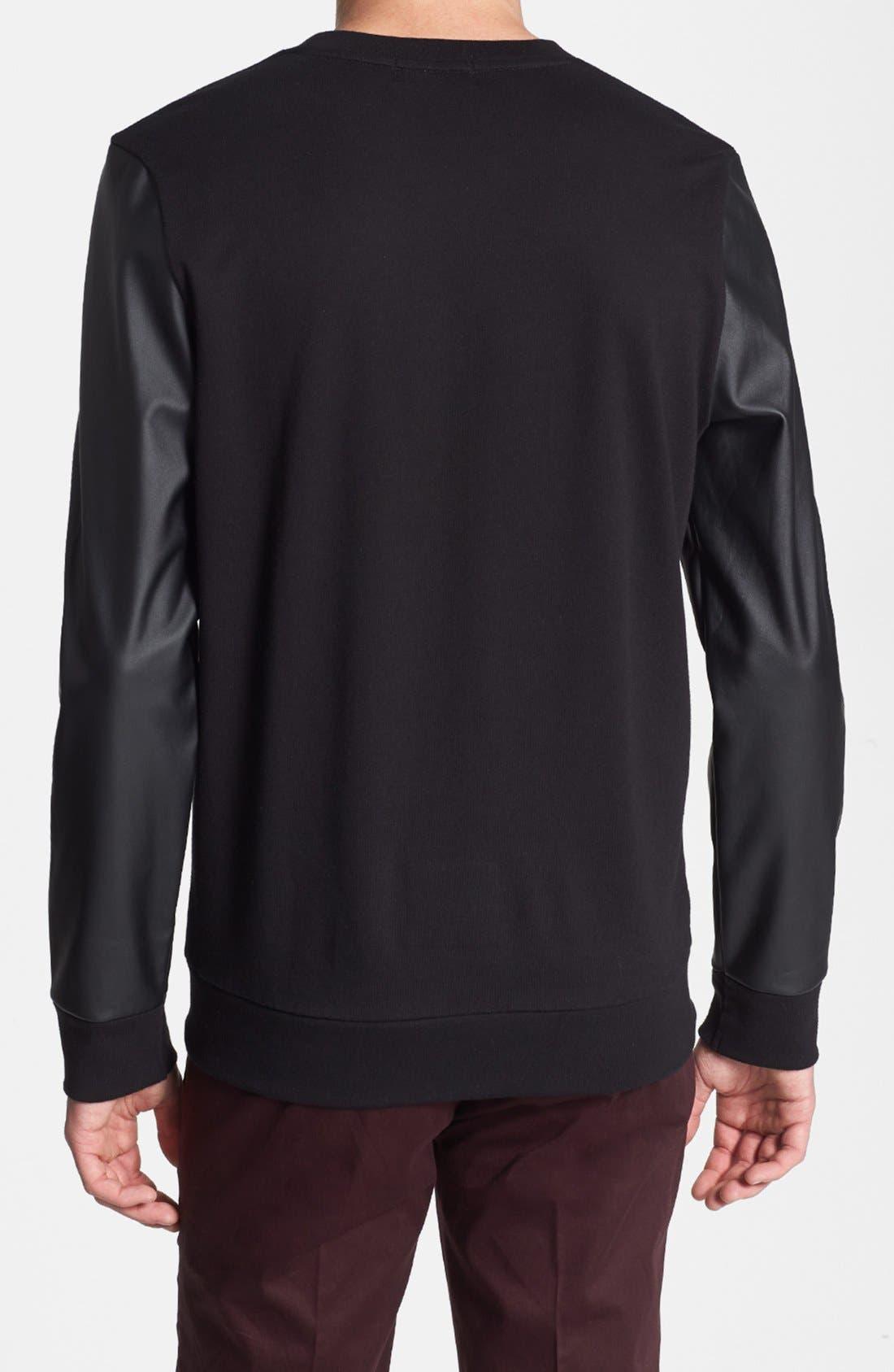 Alternate Image 2  - Topman Faux Leather Sleeve Crewneck Sweatshirt