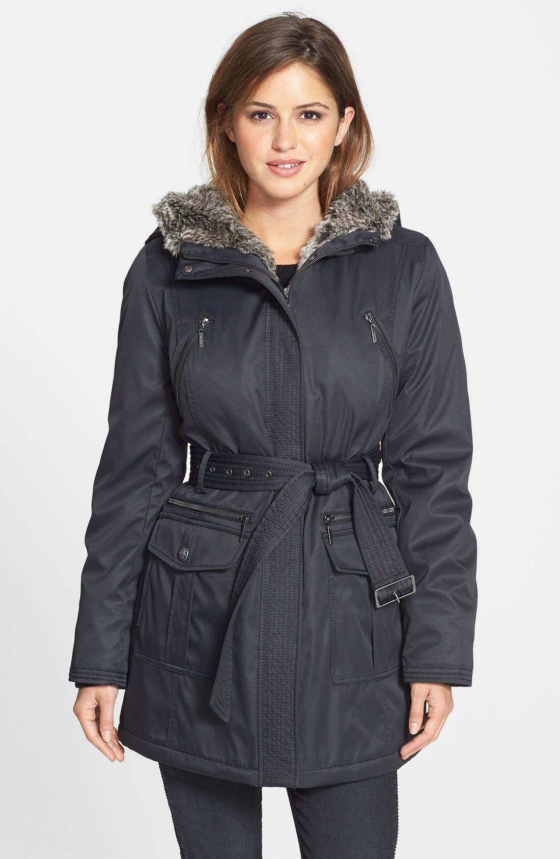 Main Image - kensie Belted Puffer Coat with Faux Fur Trim
