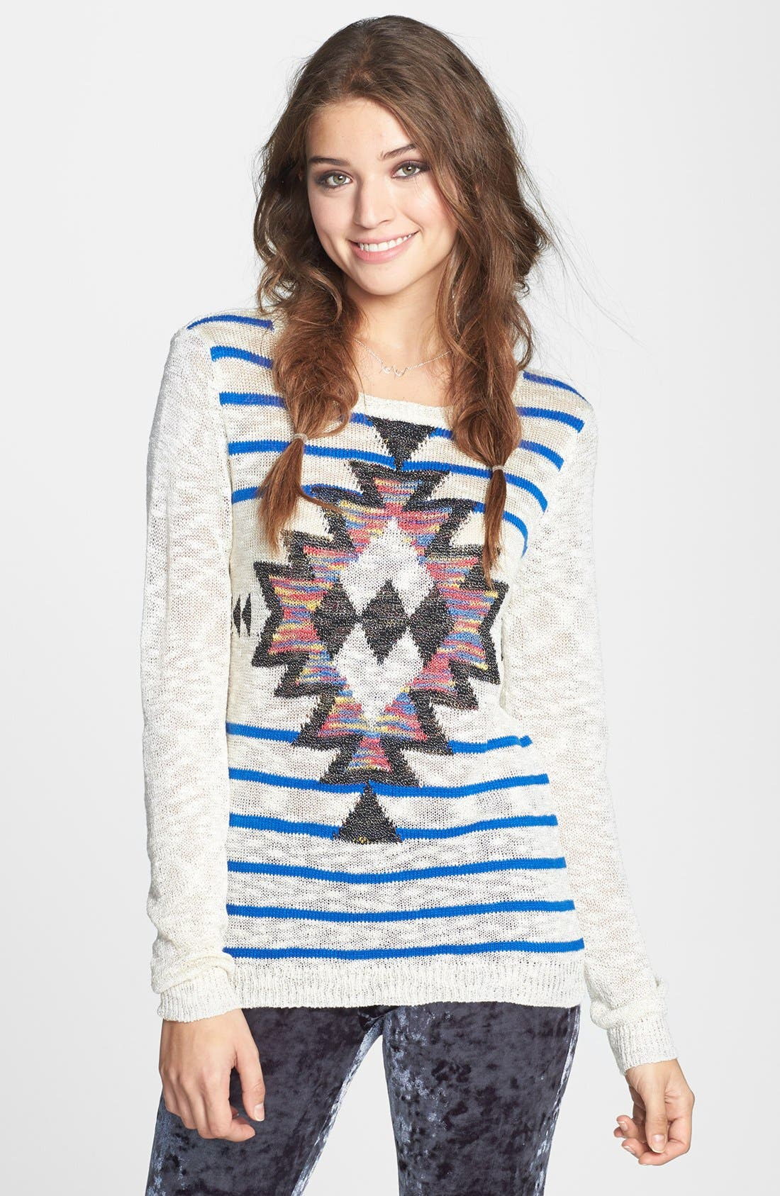 Alternate Image 1 Selected - Woven Heart Graphic Burnout Sweater (Juniors) (Online Only)