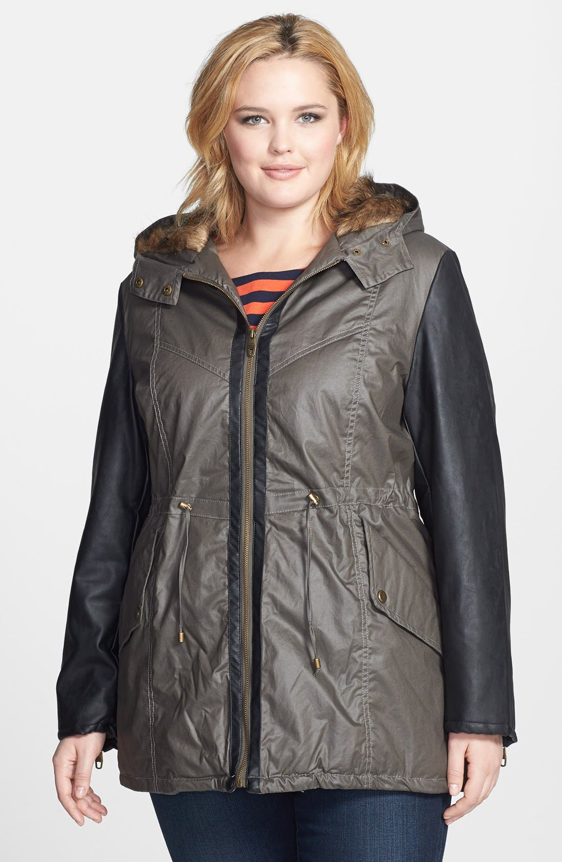 Main Image - Steve Madden Faux Leather Sleeve Waxed Anorak (Plus Size)