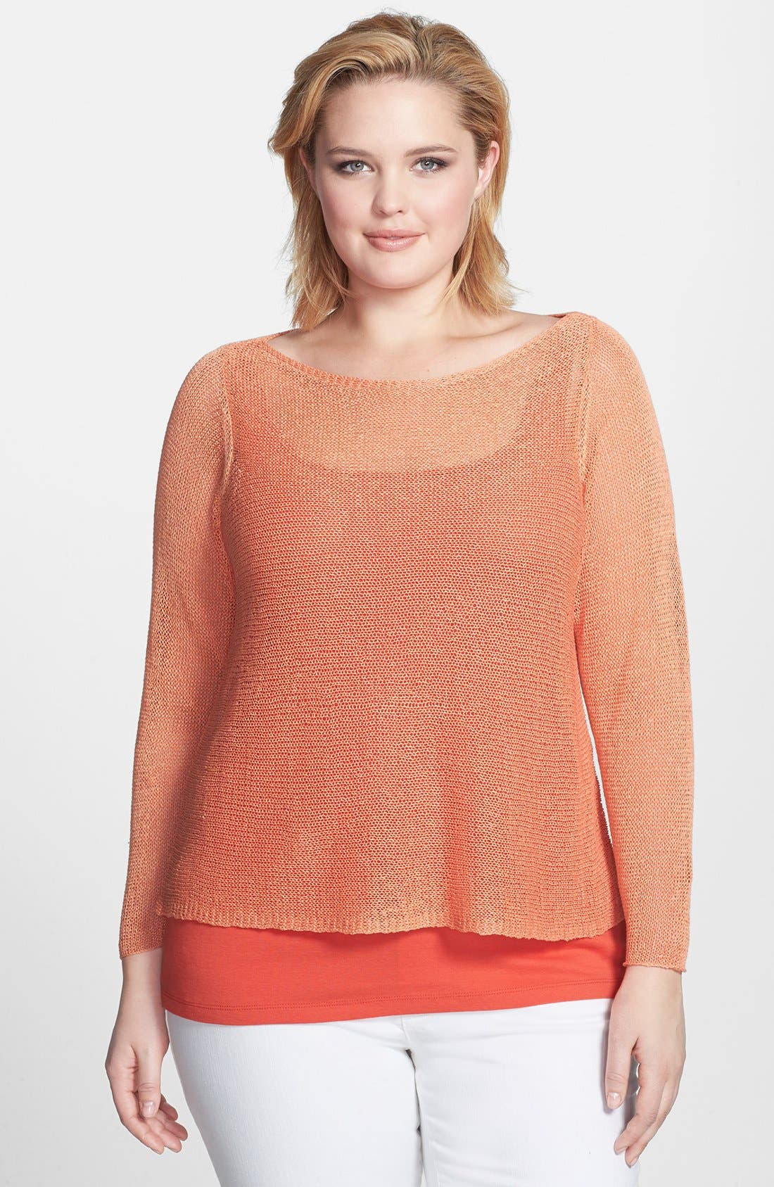 Alternate Image 1 Selected - Eileen Fisher Ballet Neckline Sheer Boxy Top (Plus Size)