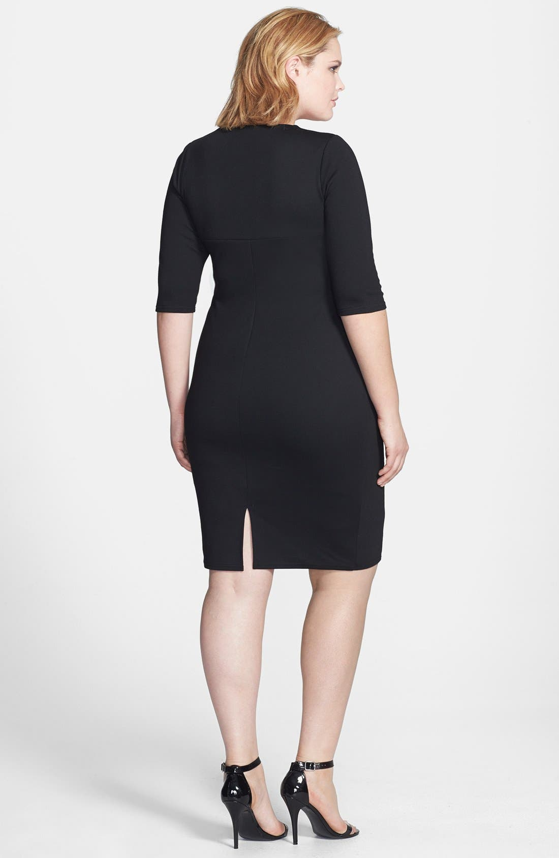 Alternate Image 2  - Scarlett & Jo Side Pleat Colorblock Sheath Dress (Plus Size)