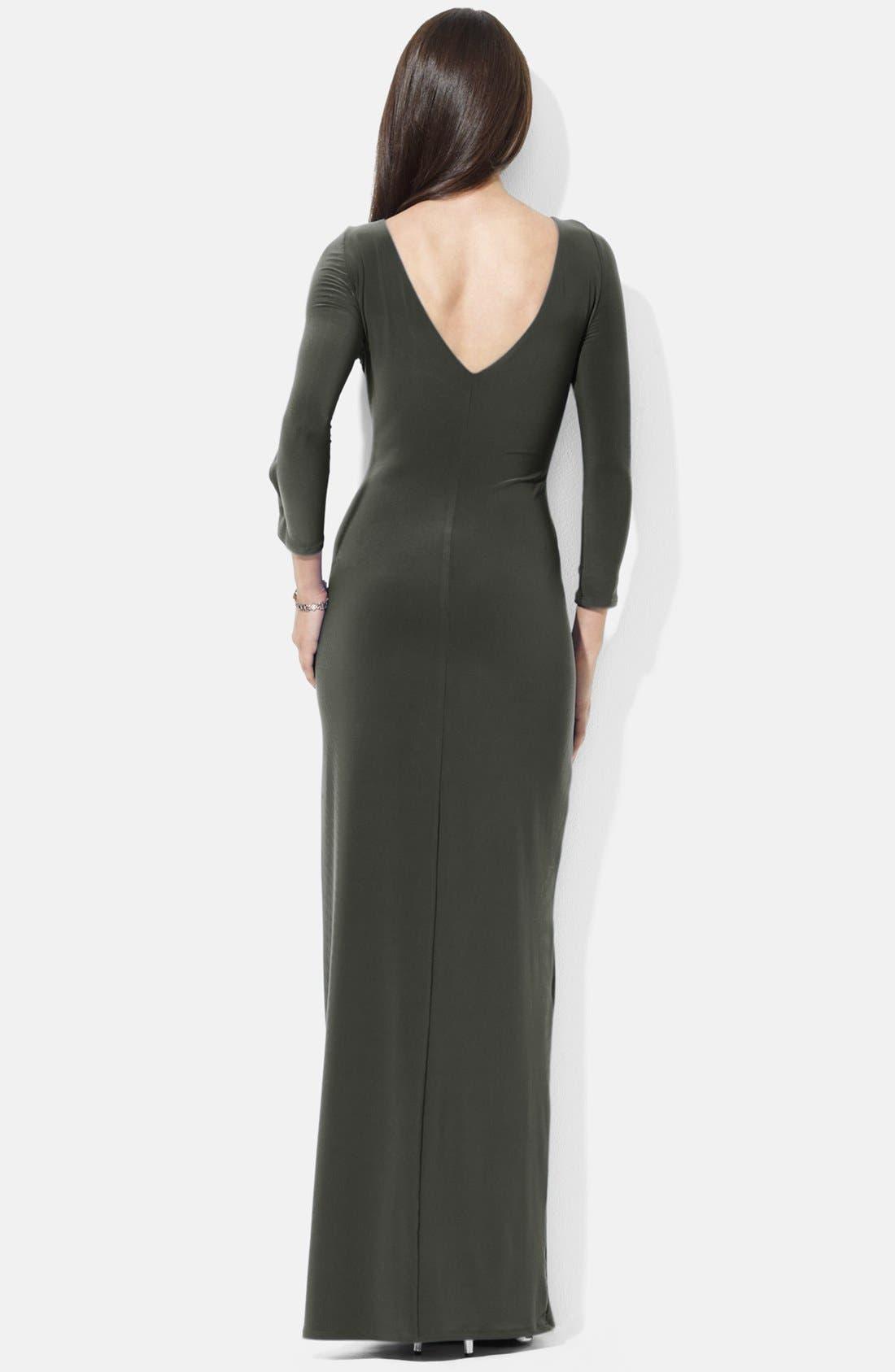 Alternate Image 2  - Lauren Ralph Lauren Satin Ruffled Jersey Gown
