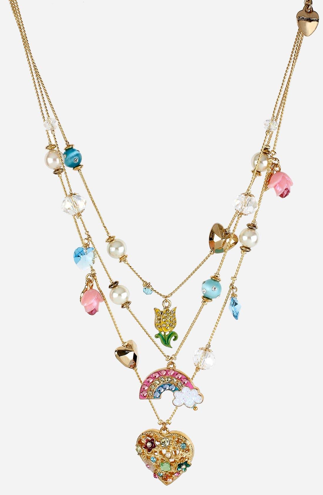 Alternate Image 1 Selected - Betsey Johnson 'Fairyland' Multistrand Charm Necklace