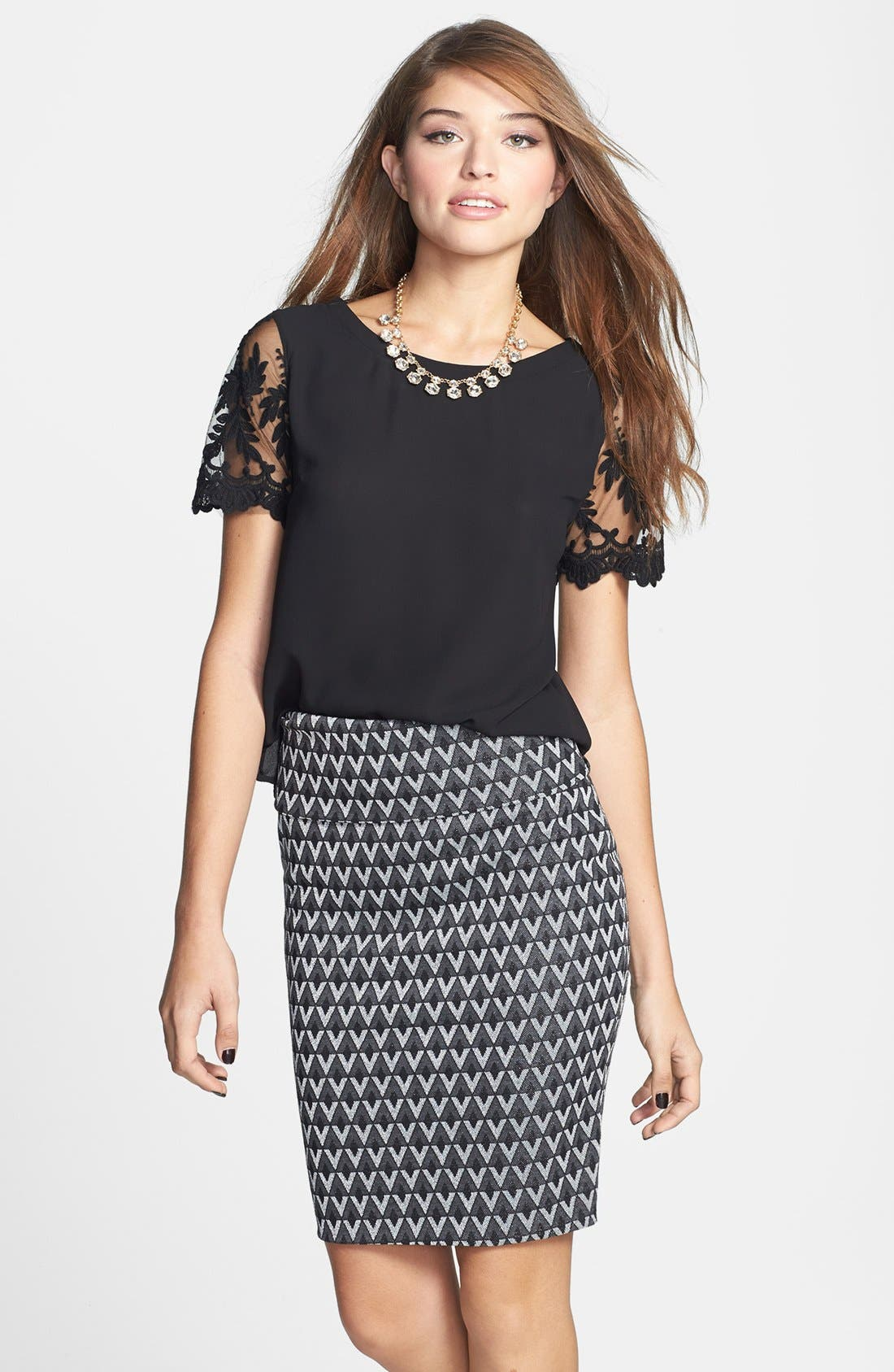 Main Image - Lily White Metallic Textured Midi Pencil Skirt (Juniors) (Online Only)