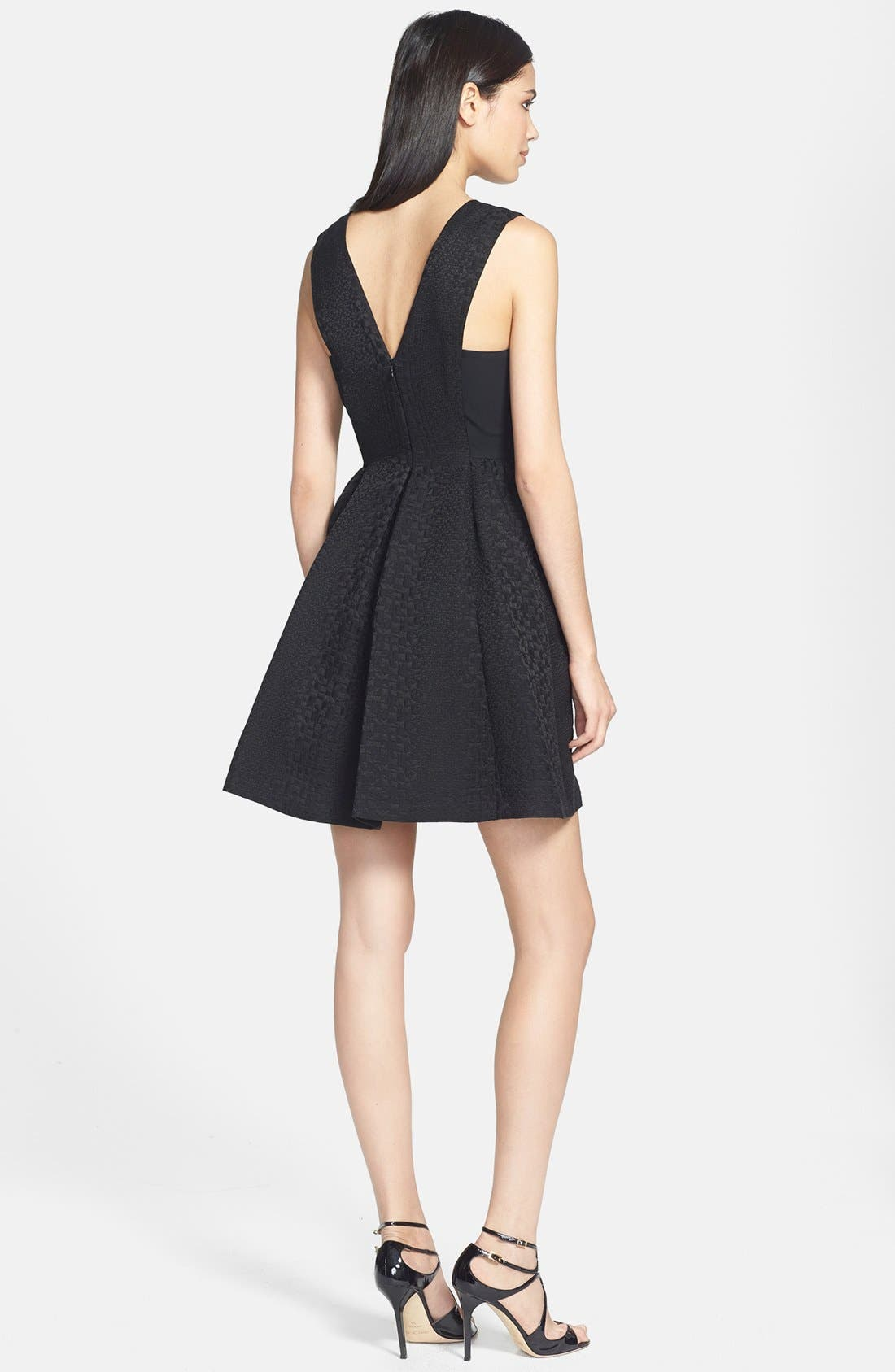 Alternate Image 2  - Rebecca Taylor Mesh Inset Cloqué Fit & Flare Dress