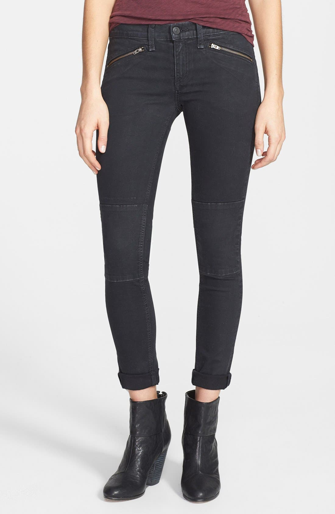 Alternate Image 1 Selected - rag & bone/JEAN 'Ridley' Moto Skinny Jeans (Wax Black)