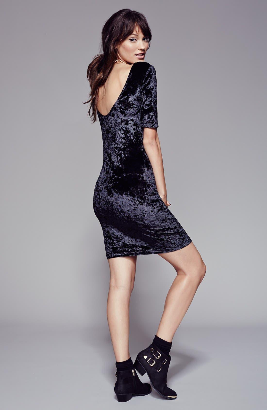 Alternate Image 4  - Frenchi® Velour Body-Con Dress (Juniors)
