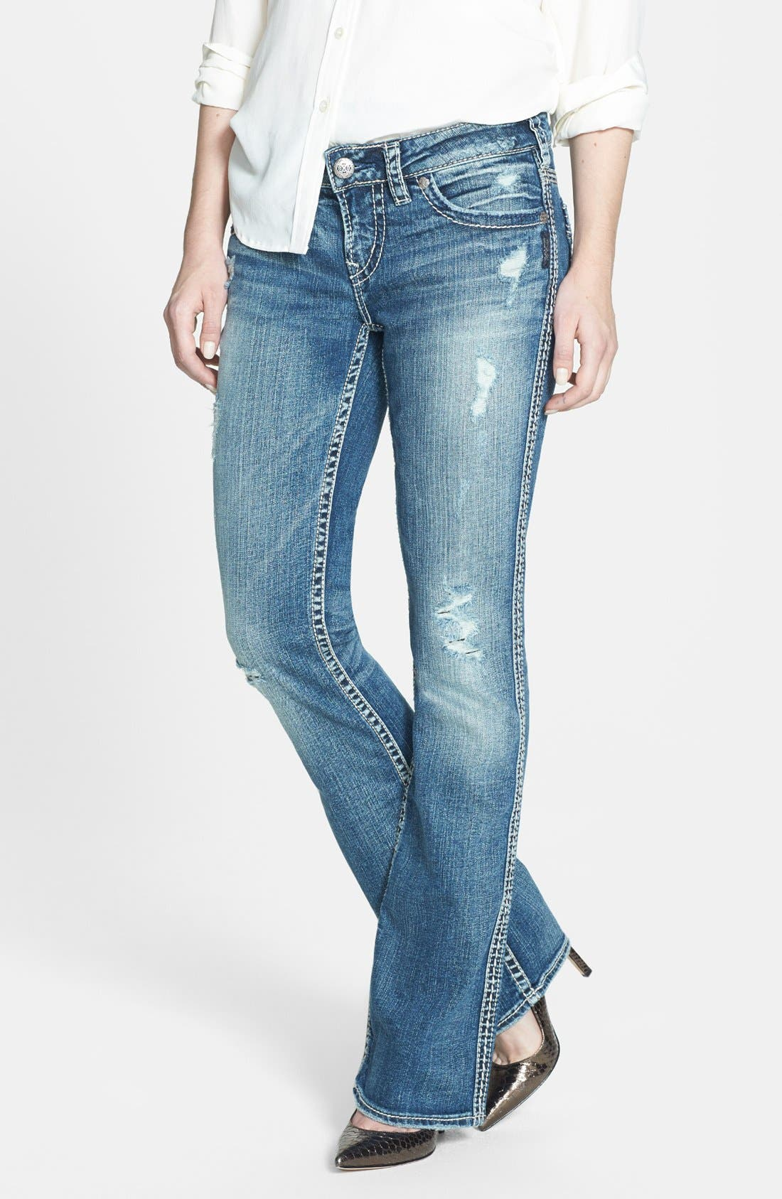 Alternate Image 1 Selected - Silver Jeans Co. 'Aiko' Faux Flap Pocket Distressed Bootcut Jeans (Indigo)