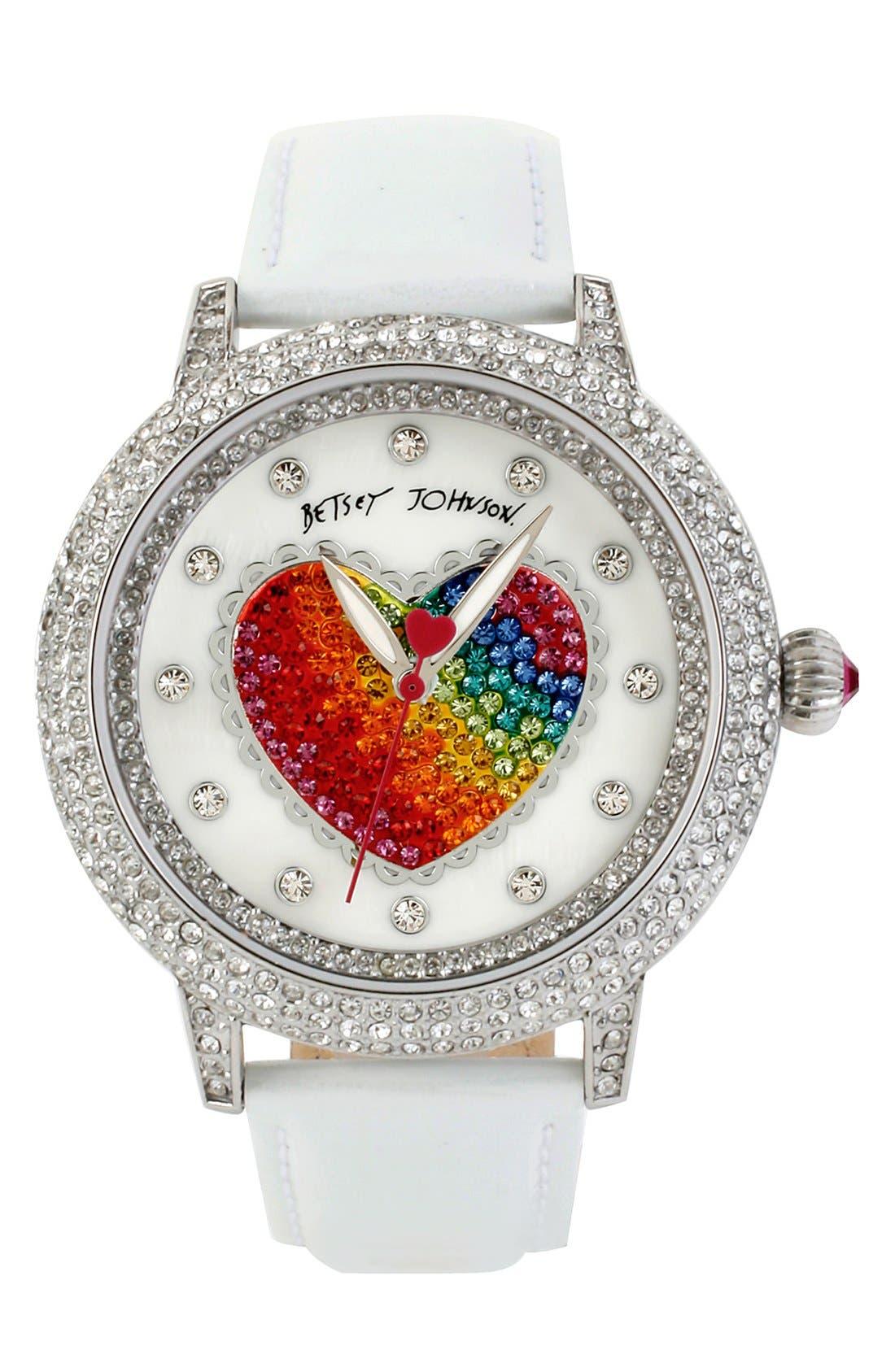 Main Image - Betsey Johnson Heart Dial Crystal Bezel Watch, 46mm