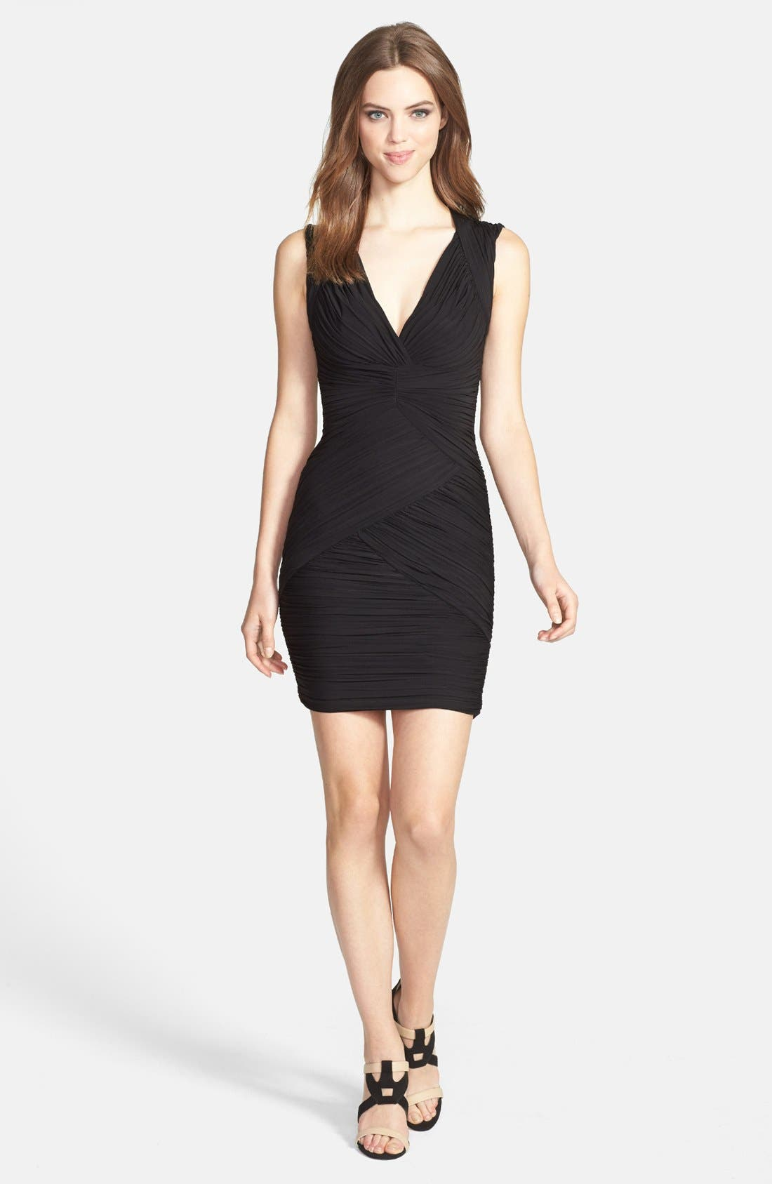 Alternate Image 1 Selected - BCBGMAXAZRIA Ruched Cutout Jersey Minidress