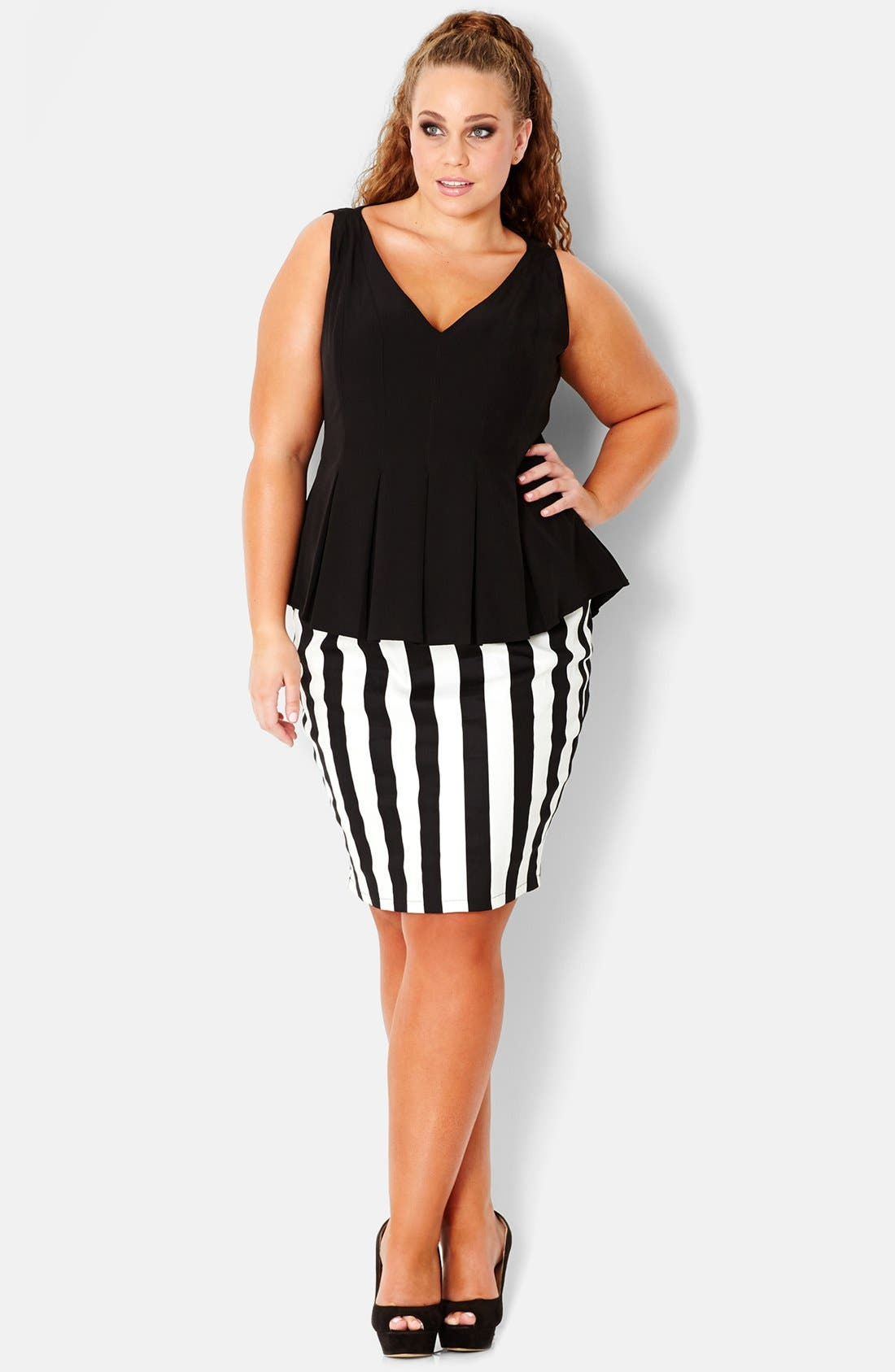 Main Image - City Chic Vertical Stripe Tube Skirt (Plus Size)