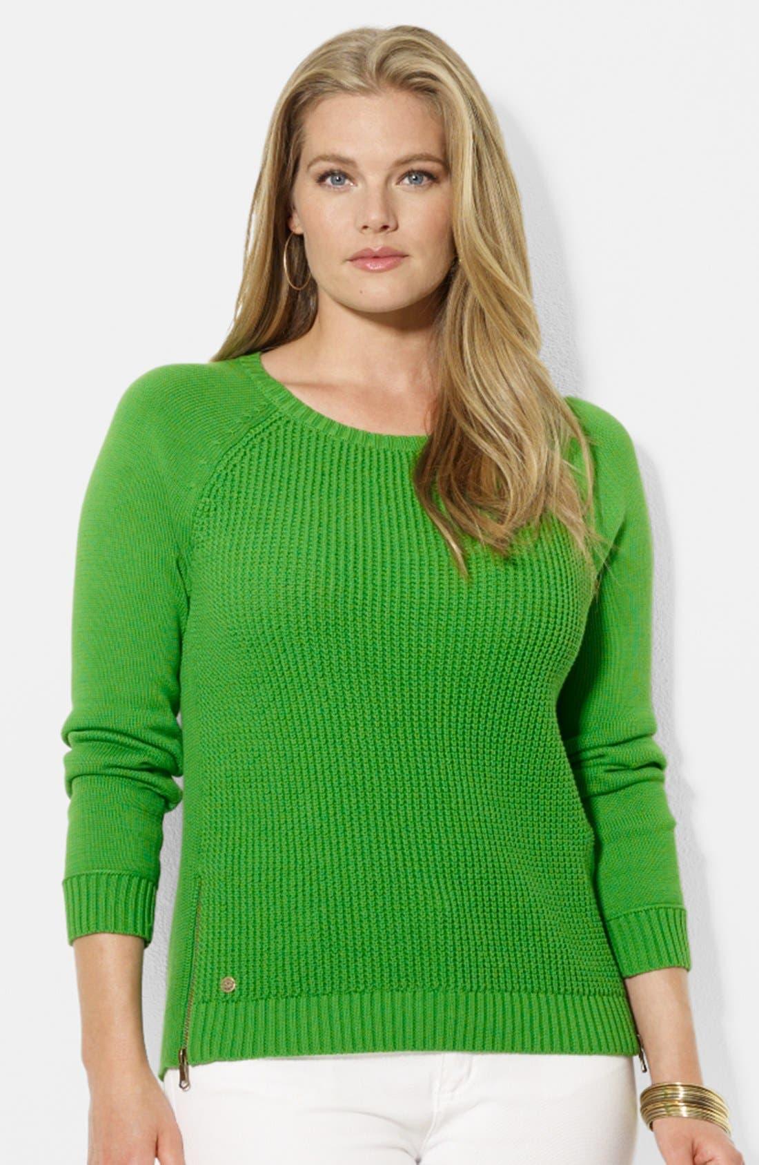 Main Image - Lauren Ralph Lauren Zip Detail Raglan Sleeve Cotton Sweater (Plus Size)