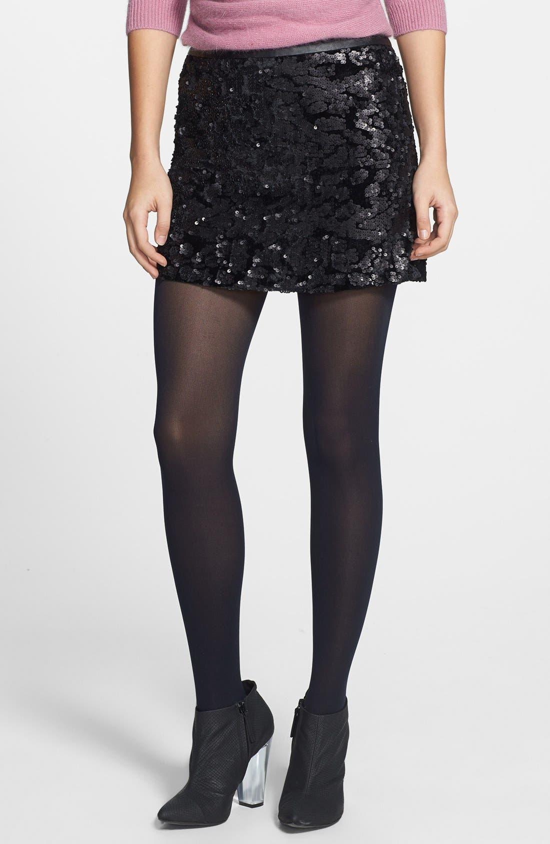 Main Image - ASTR Sequin Velvet Miniskirt