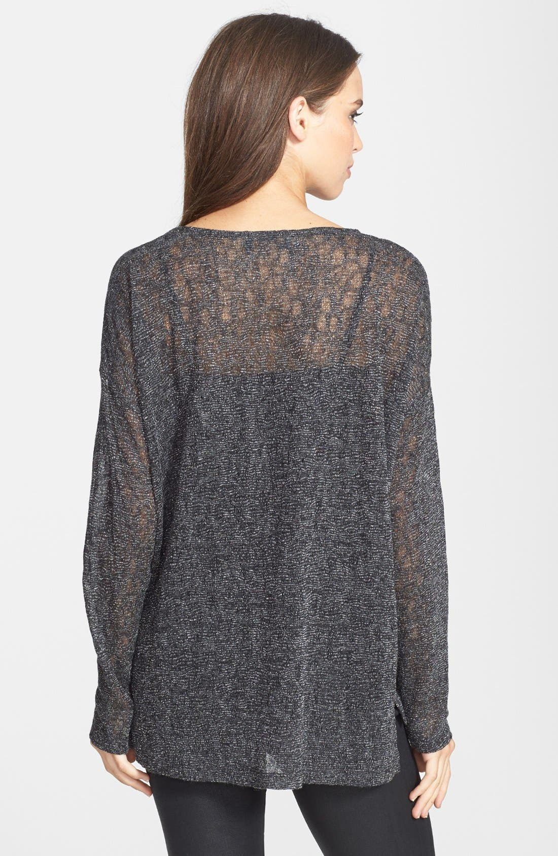 Alternate Image 2  - Two by Vince Camuto High/Low Hem Metallic Pointelle Tee