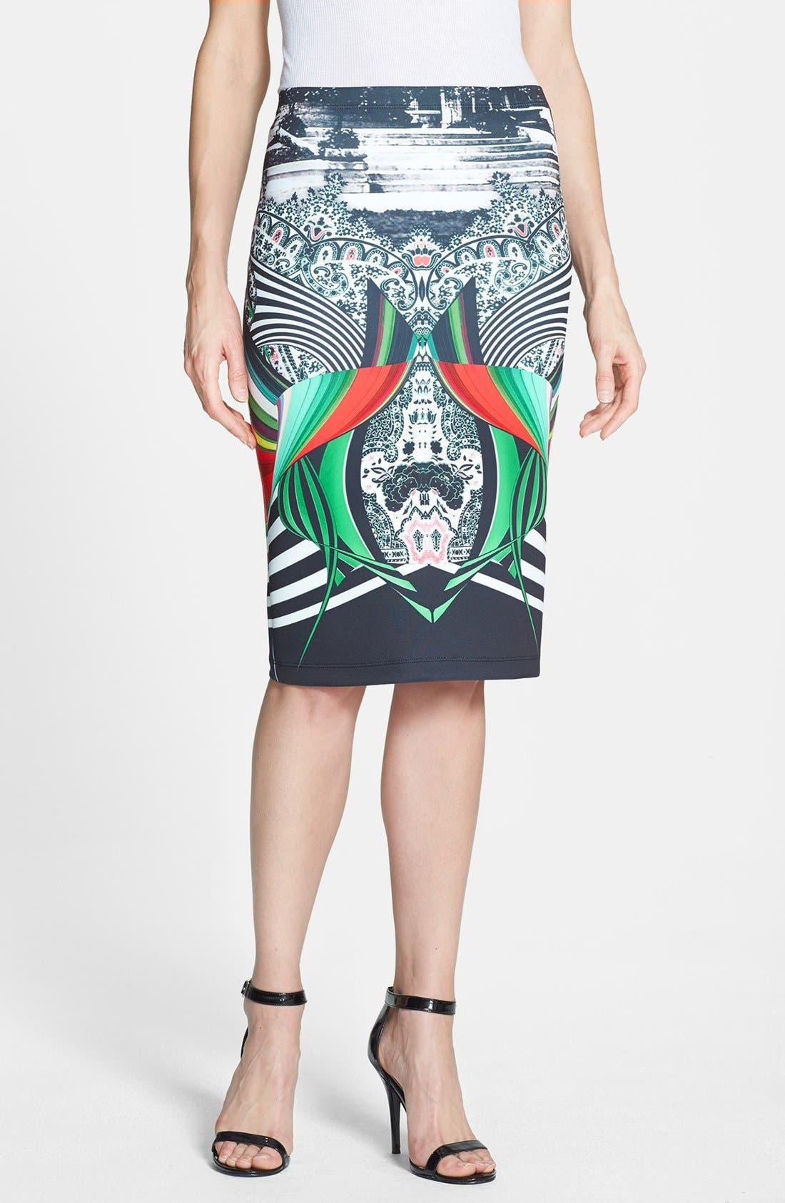 Main Image - Clover Canyon 'Swirl Scarf' Pencil Skirt
