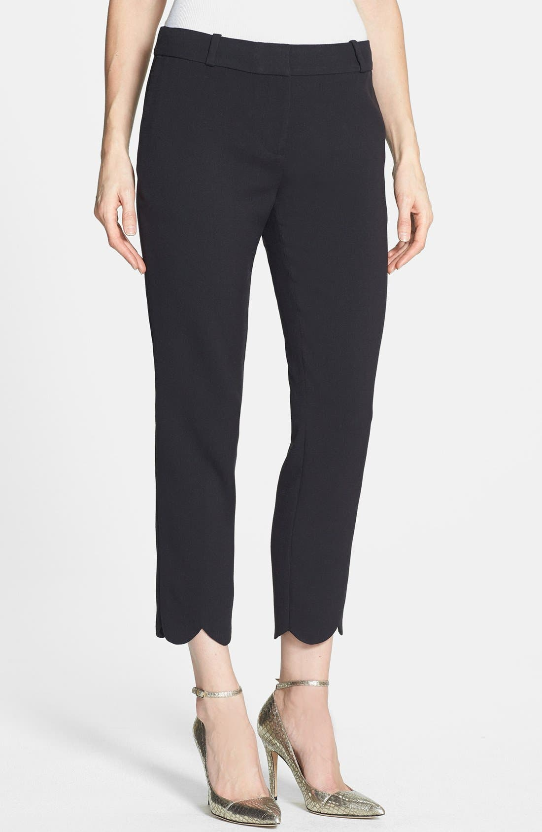 Alternate Image 1 Selected - kate spade new york 'jackie' scalloped hem capri pants