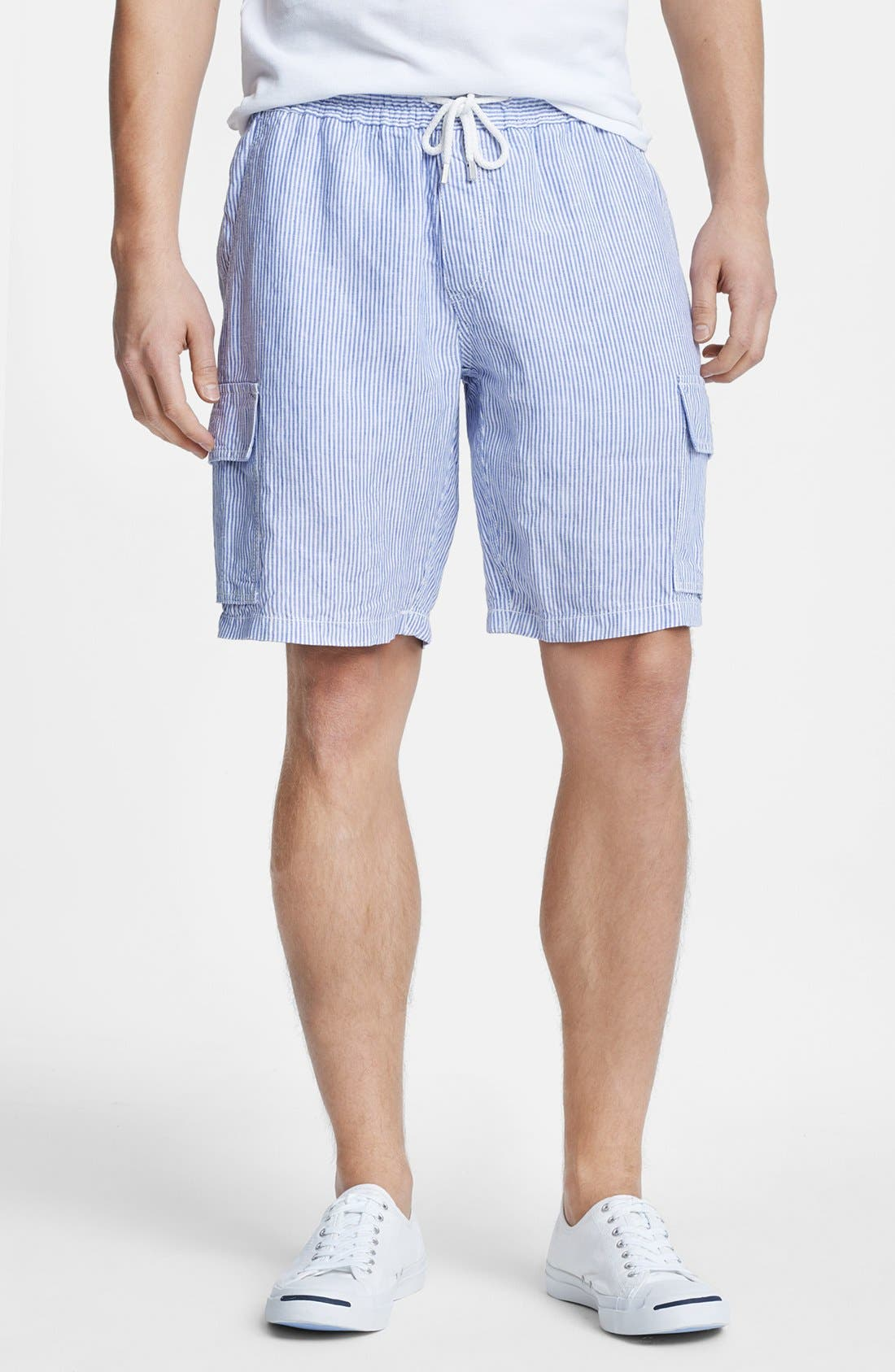 Main Image - Vilebrequin 'Berrix' Stripe Linen Cargo Shorts