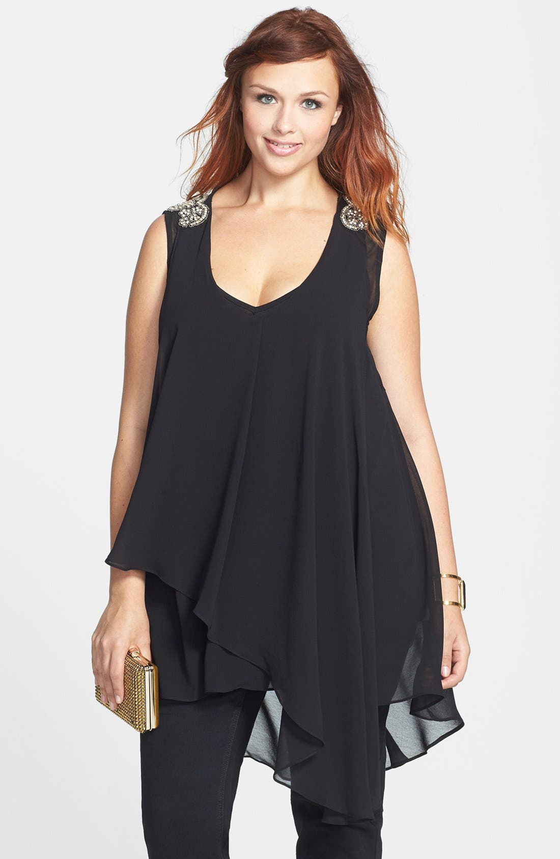 Alternate Image 1 Selected - City Chic Beaded Shoulder Layered Chiffon Tank (Plus Size)