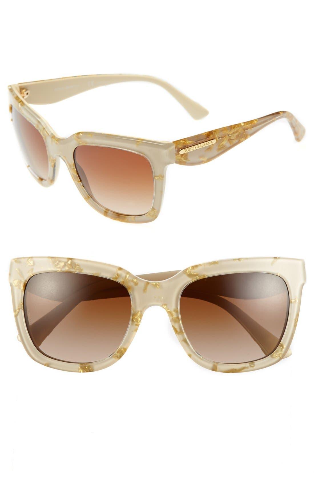 Main Image - Dolce&Gabbana 'Gold Leaf' 53mm Sunglasses